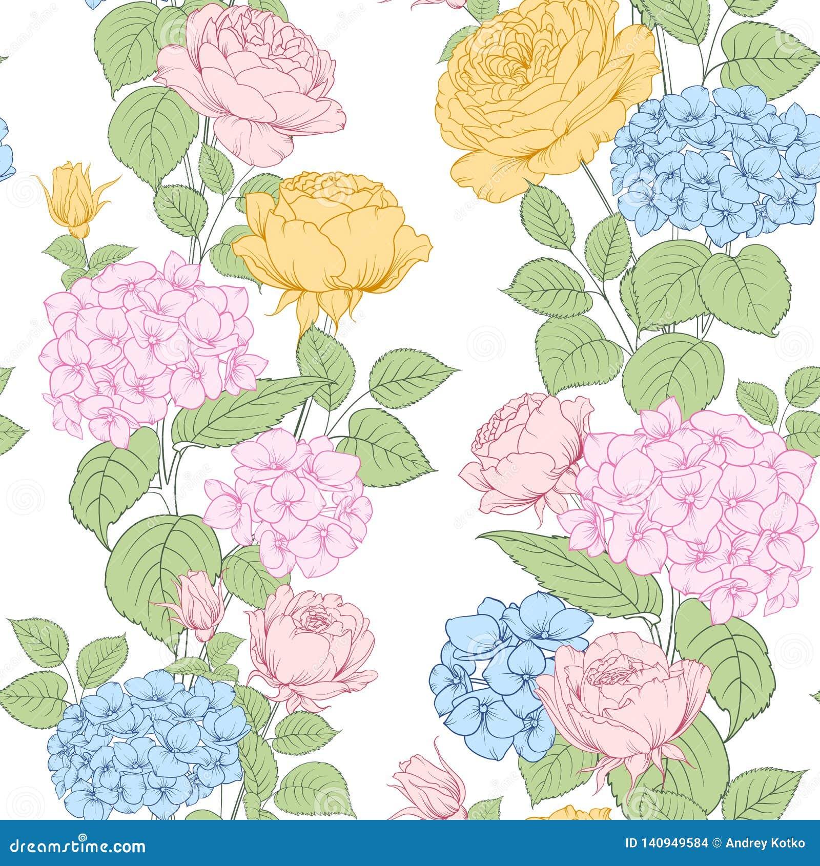 Modelo inconsútil de las flores de la rosa y de la hortensia para el diseño de la tela Arte lujoso de las flores de la primavera