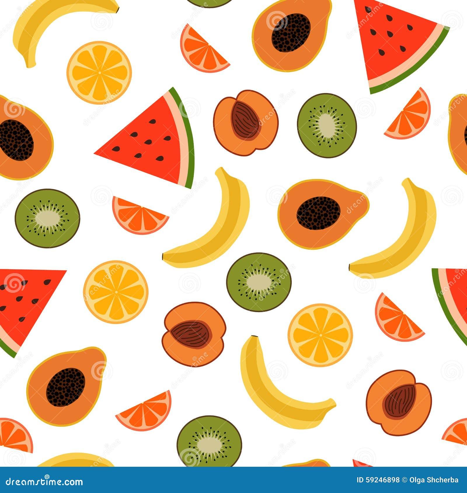 Modelo inconsútil de las frutas tropicales
