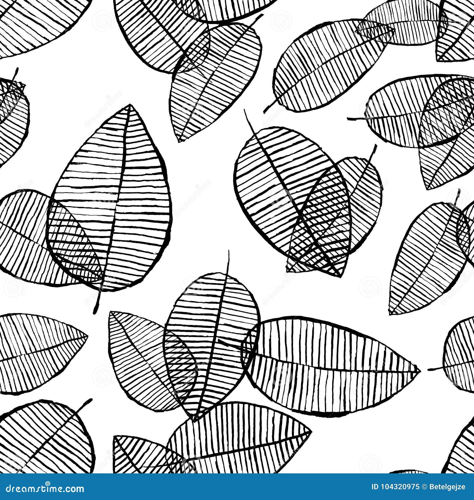 Modelo inconsútil de las hojas del vector Fondo blanco negro hecho con la acuarela, la tinta y el marcador Diseño escandinavo de