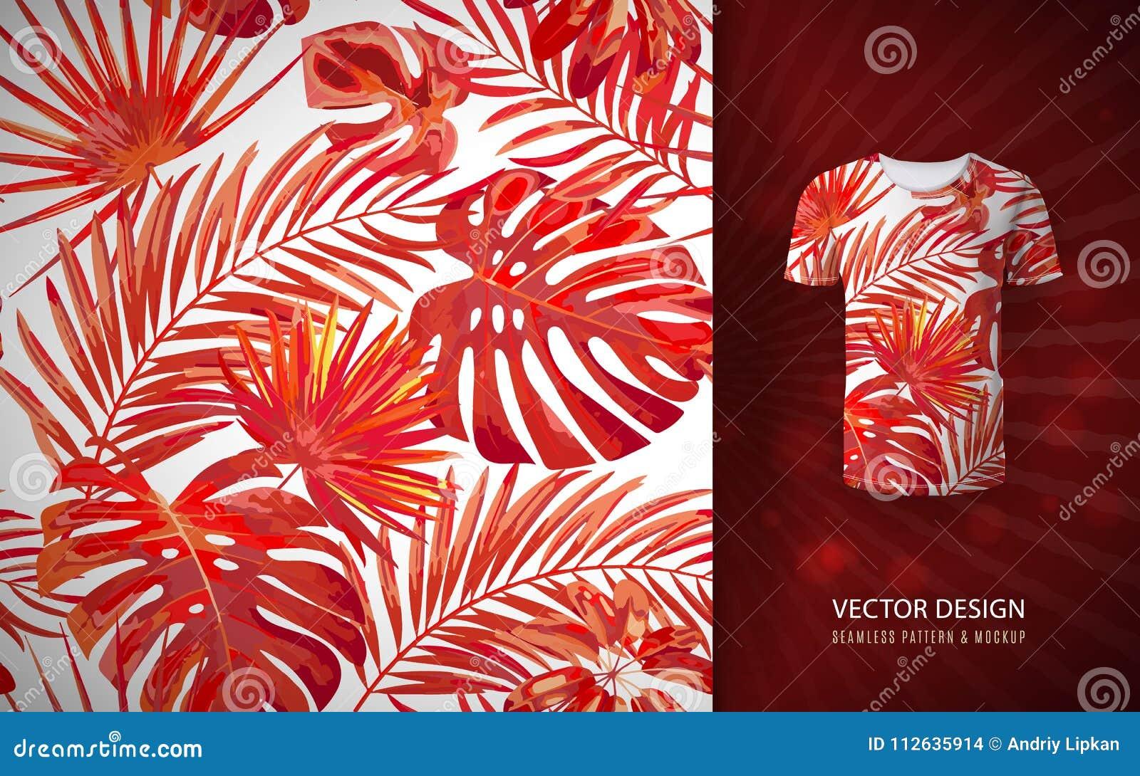 Modelo inconsútil de las hojas de palma tropicales del vector Fondo hawaiano exótico floral Elementos florecientes Selva dibujada