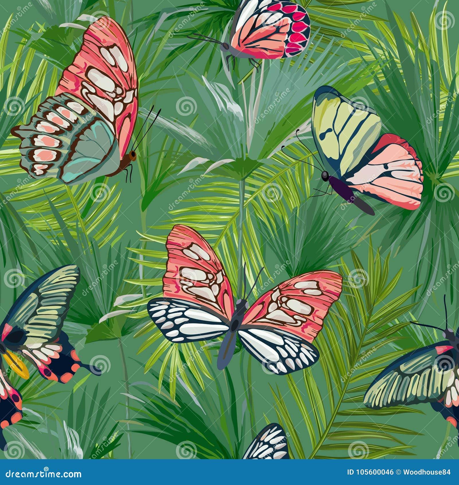 Modelo inconsútil de las hojas de palma tropicales Fondo de la selva con las mariposas exóticas Diseño floral de la moda para la