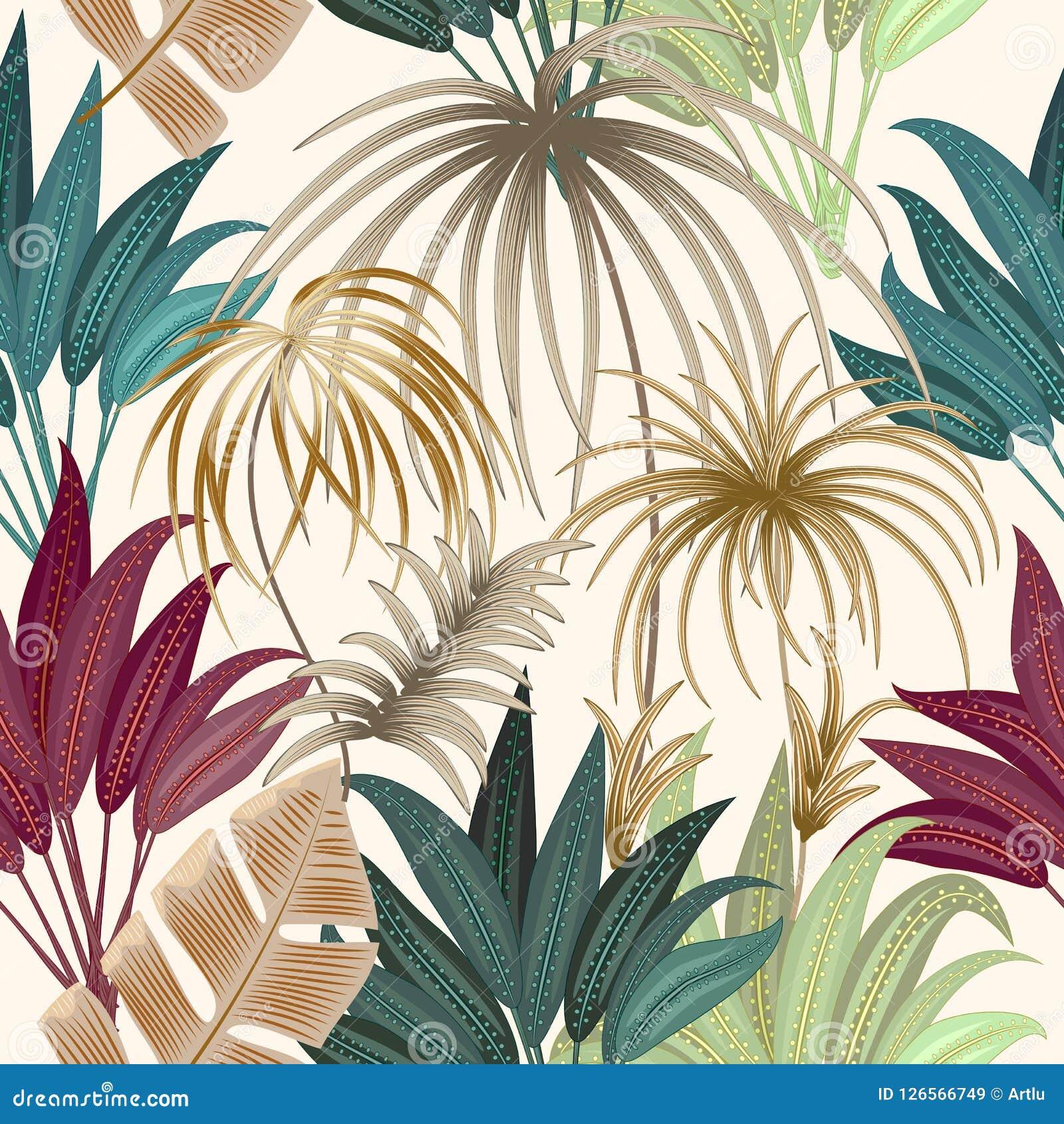 Modelo inconsútil de las hojas de palma tropicales de la planta exótica de la selva, la Florida