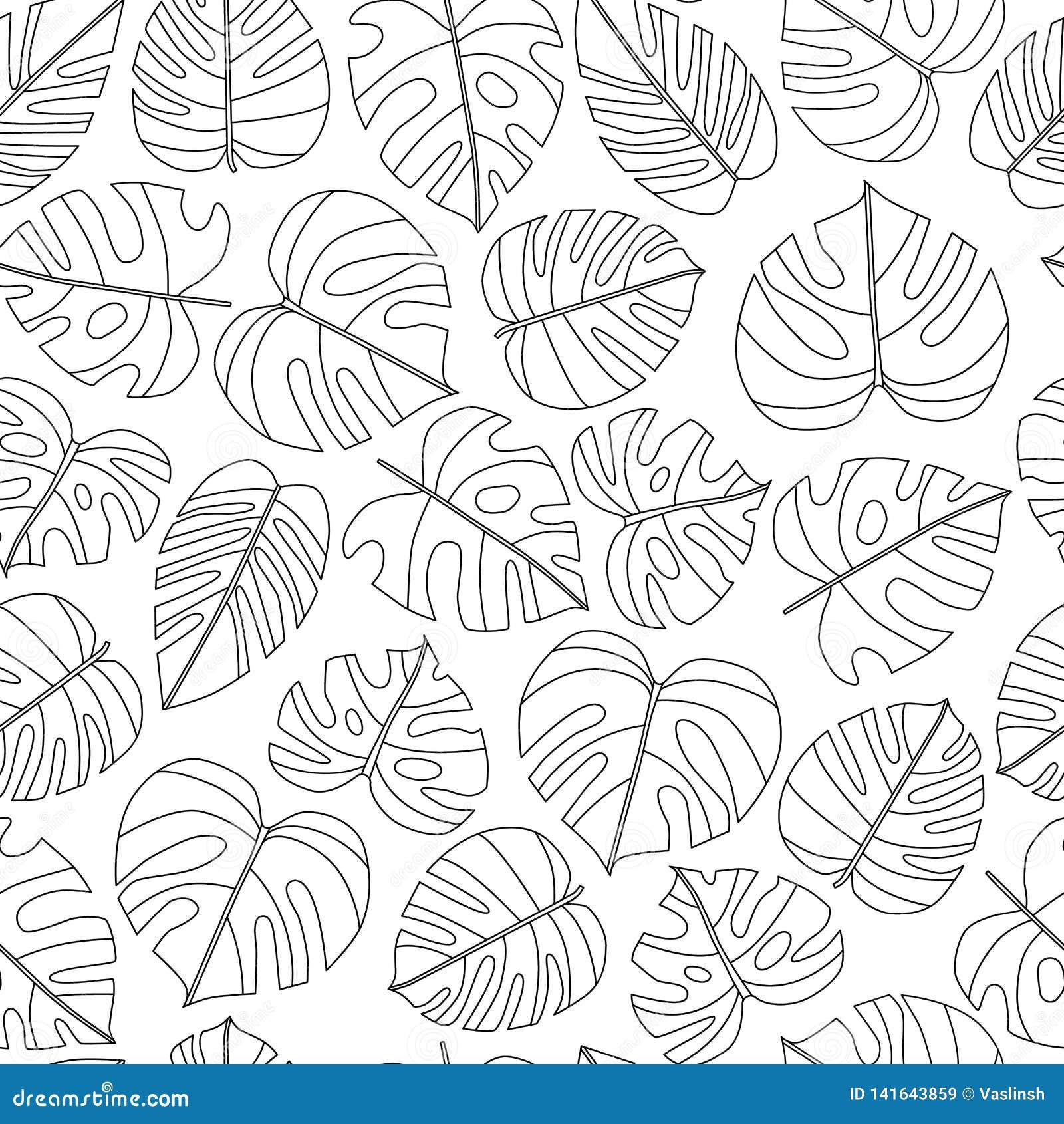 Modelo inconsútil de las hojas tropicales del vector