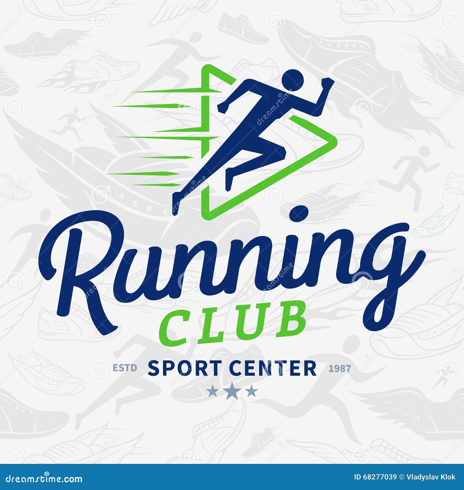 Modelo inconsútil de Logo Template Over Running Shoes del club corriente aa37d83cb0a2e