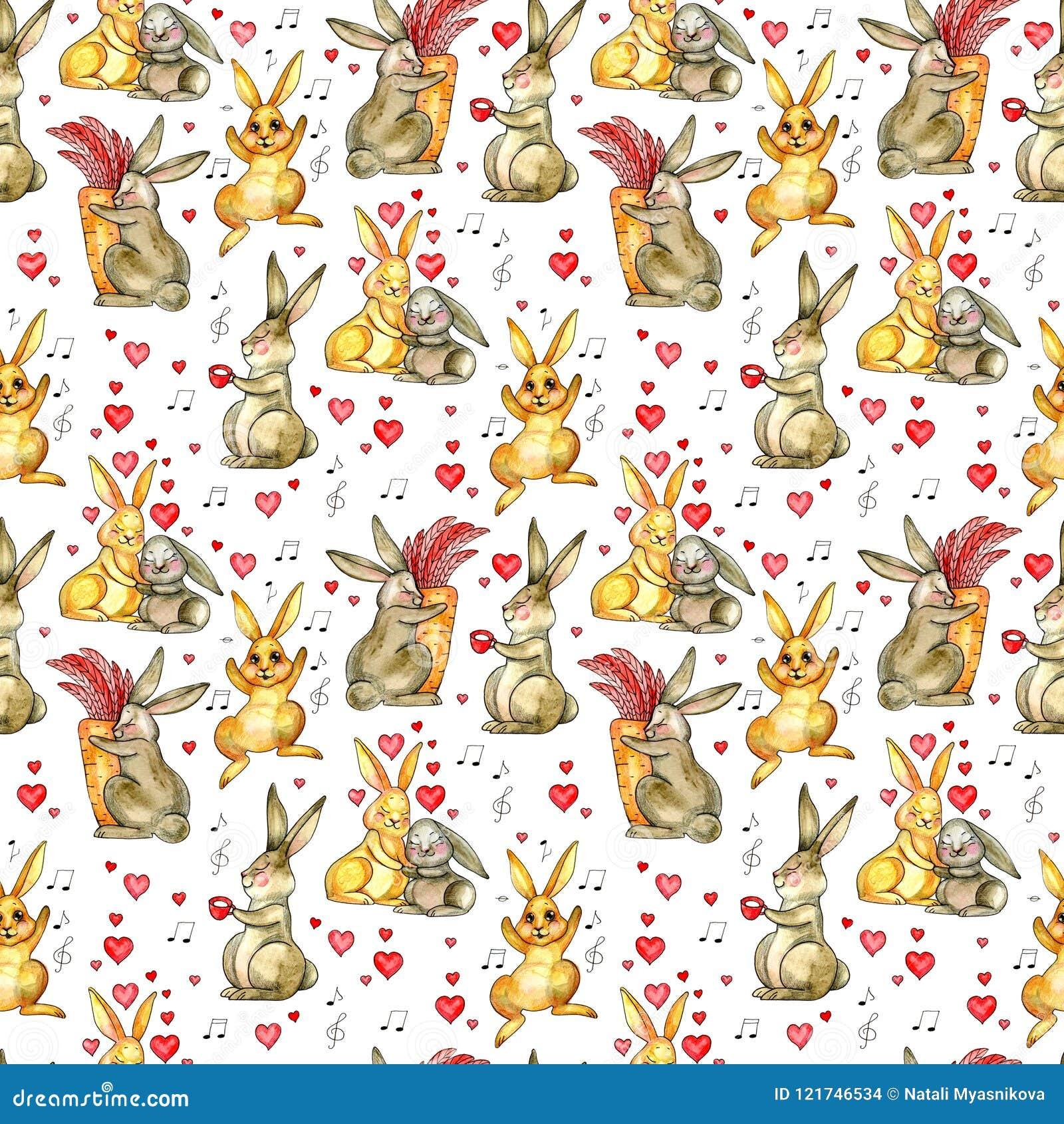 Modelo Inconsútil De Los Conejos De Pascua Fondo De La Acuarela Con ...