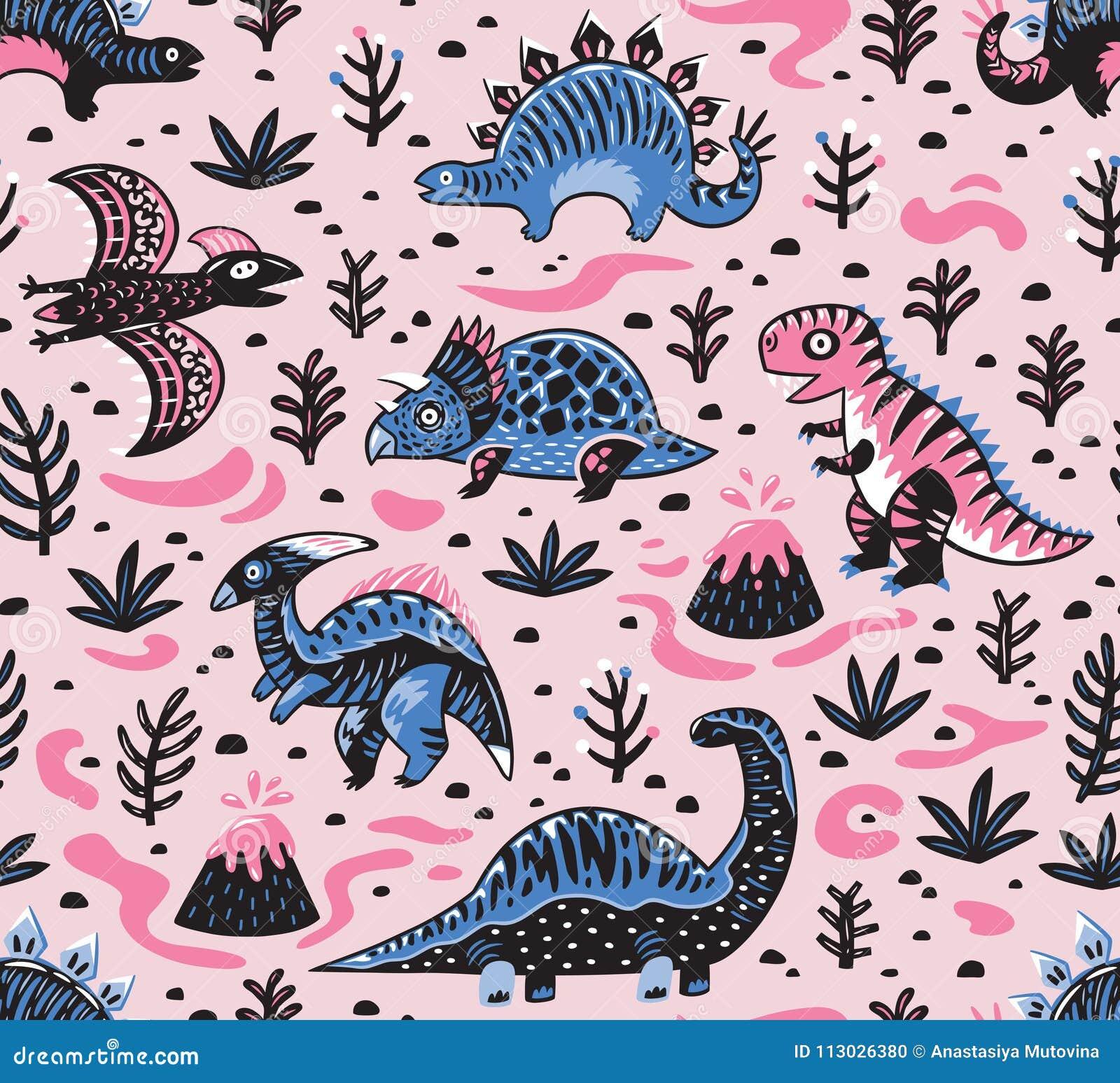 Modelo inconsútil de los dinosaurios lindos de la historieta en colores rosados y azules Ilustración del vector