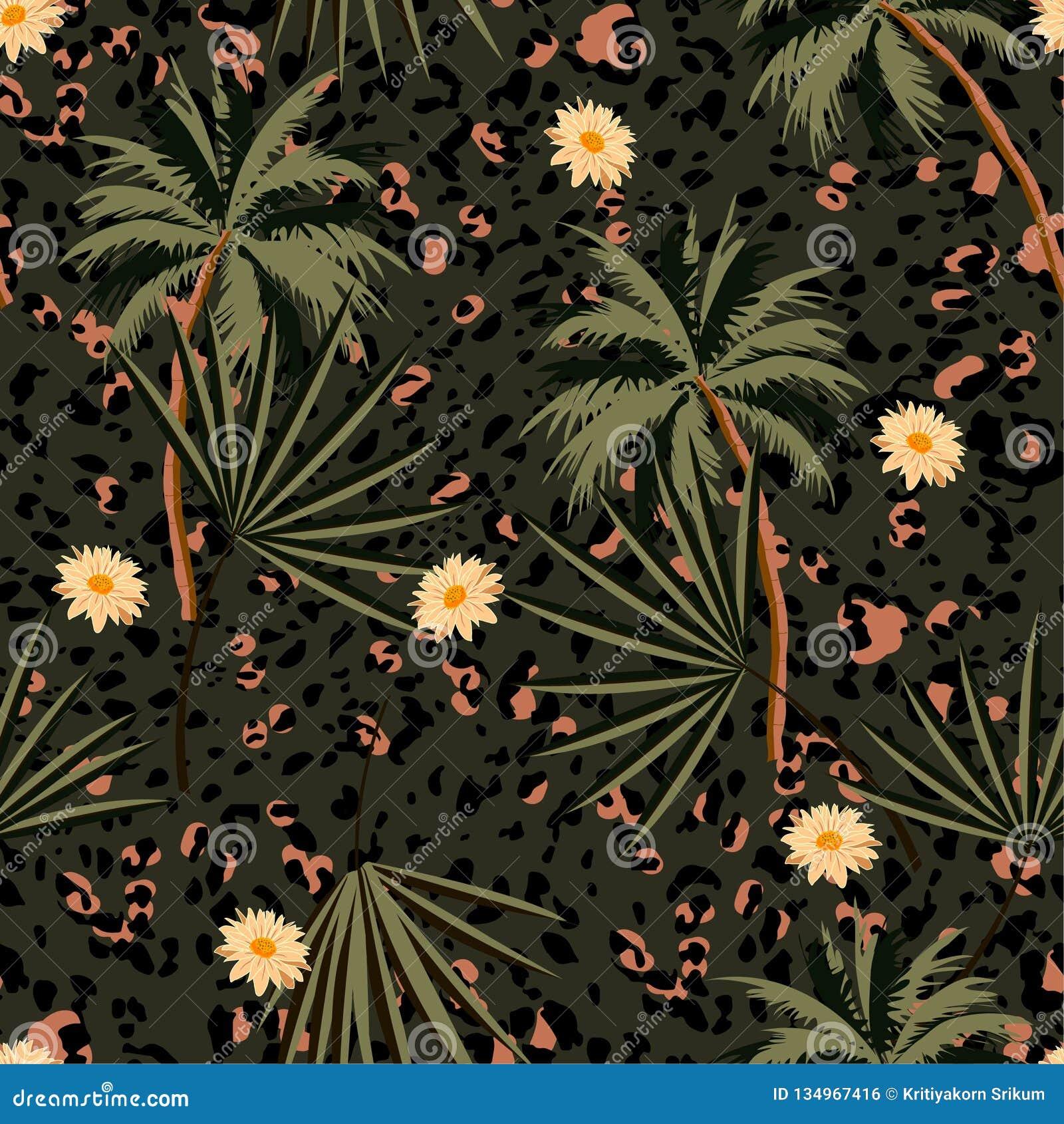 Modelo inconsútil de los estampados de animales del vintage con las plantas tropicales y los estampados leopardo Diseño del ejemp