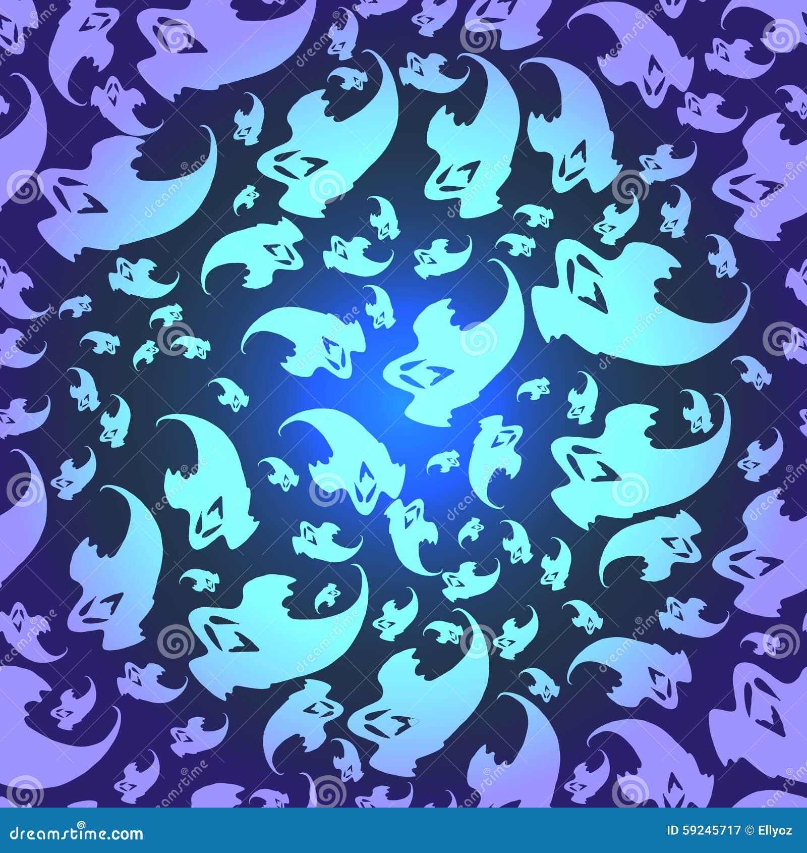 Download Modelo Inconsútil De Los Fantasmas Ilustración del Vector - Ilustración de miedo, noche: 59245717