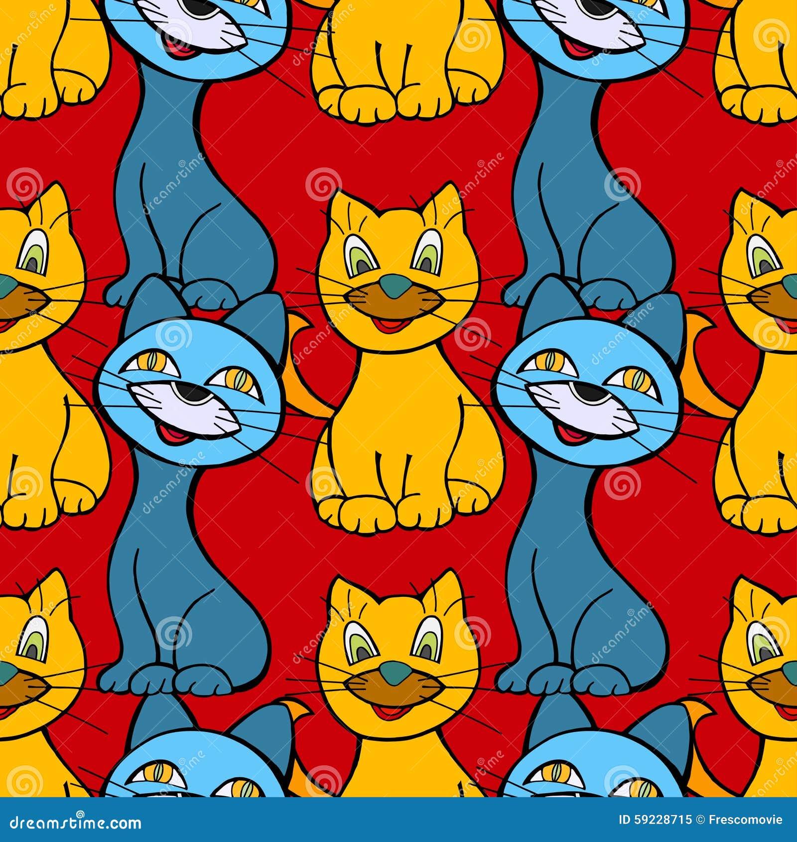 Download Modelo Inconsútil De Los Gatos Ilustración del Vector - Ilustración de diseño, aislado: 59228715