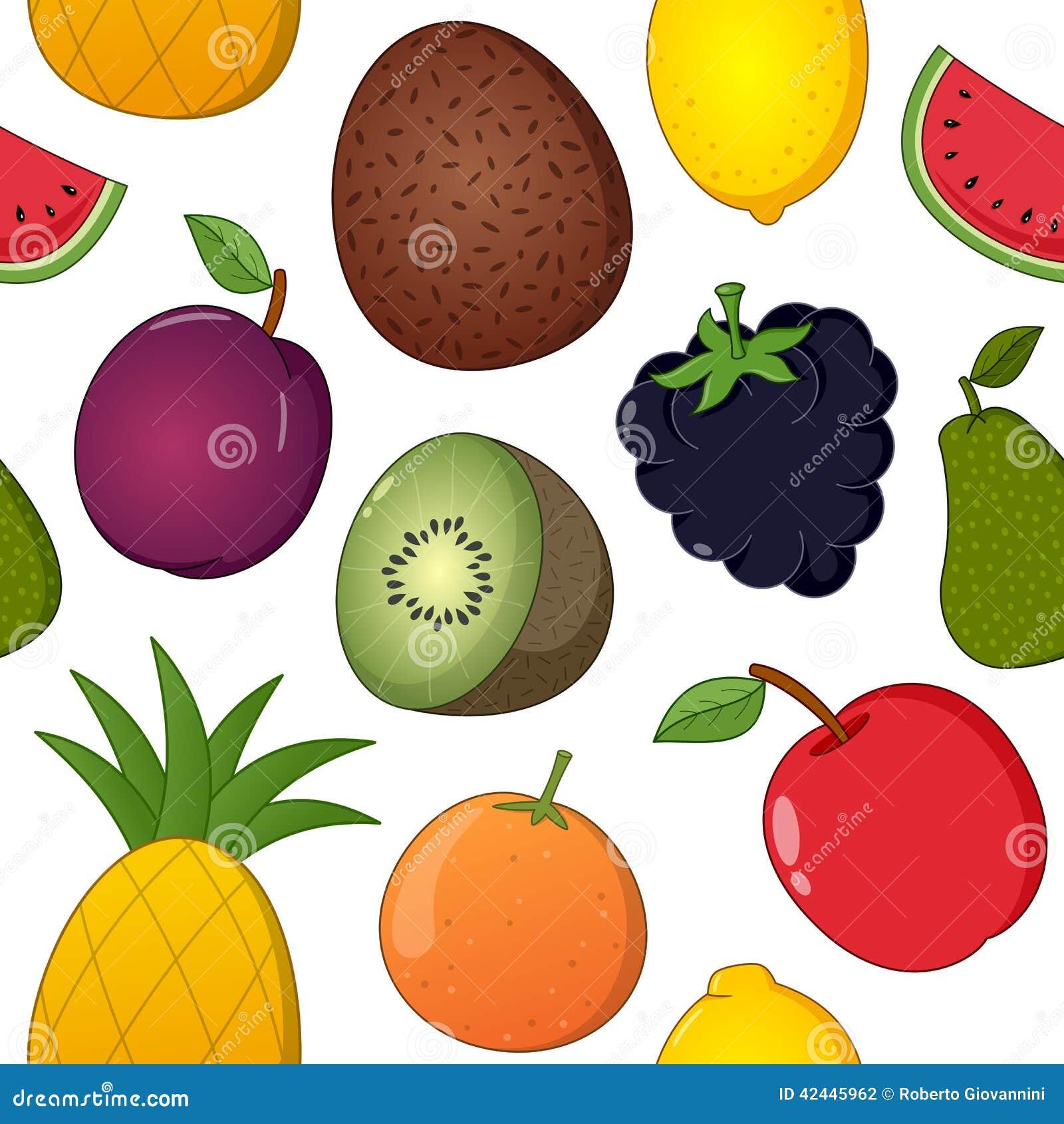 Modelo inconsútil de los iconos de la fruta en blanco