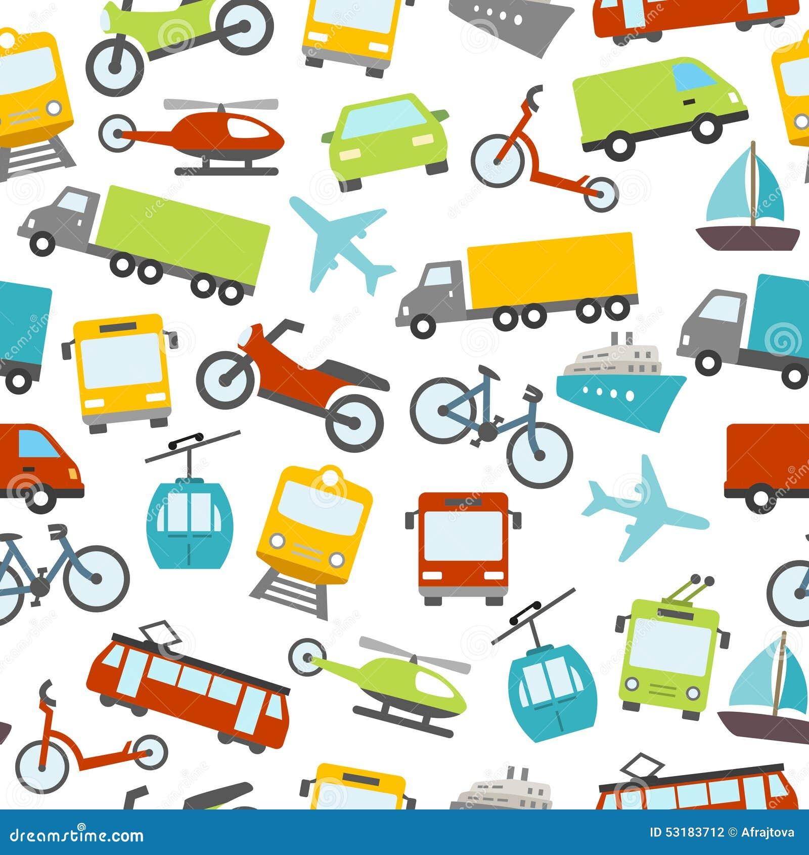 Modelo inconsútil de los iconos del transporte