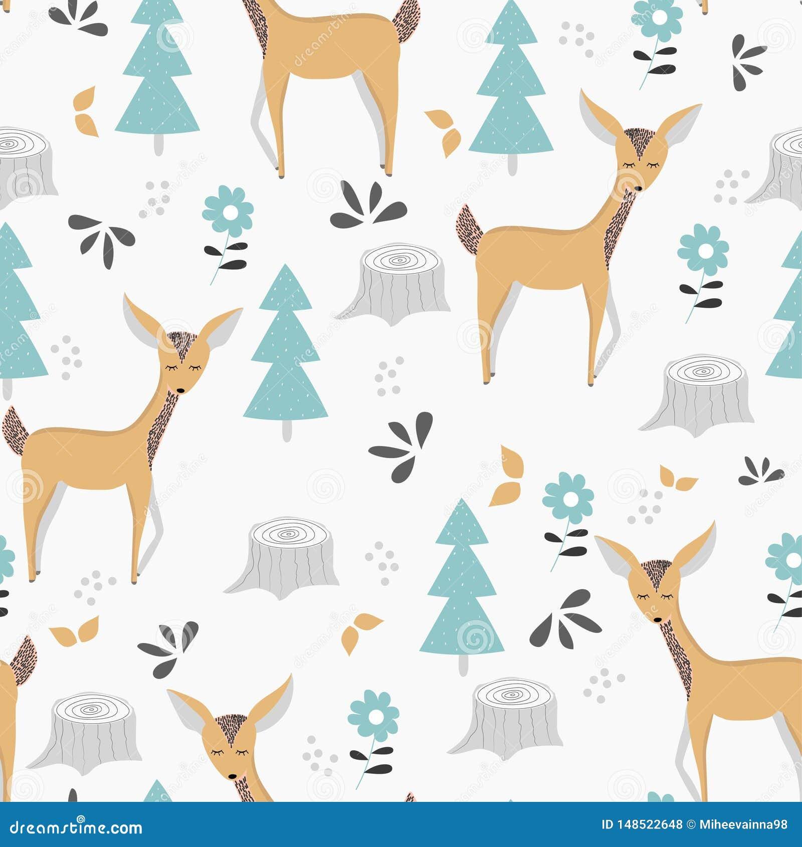 Modelo inconsútil de los niños con los ciervos y la fauna lindos Diseño, impresión y materias textiles del vector
