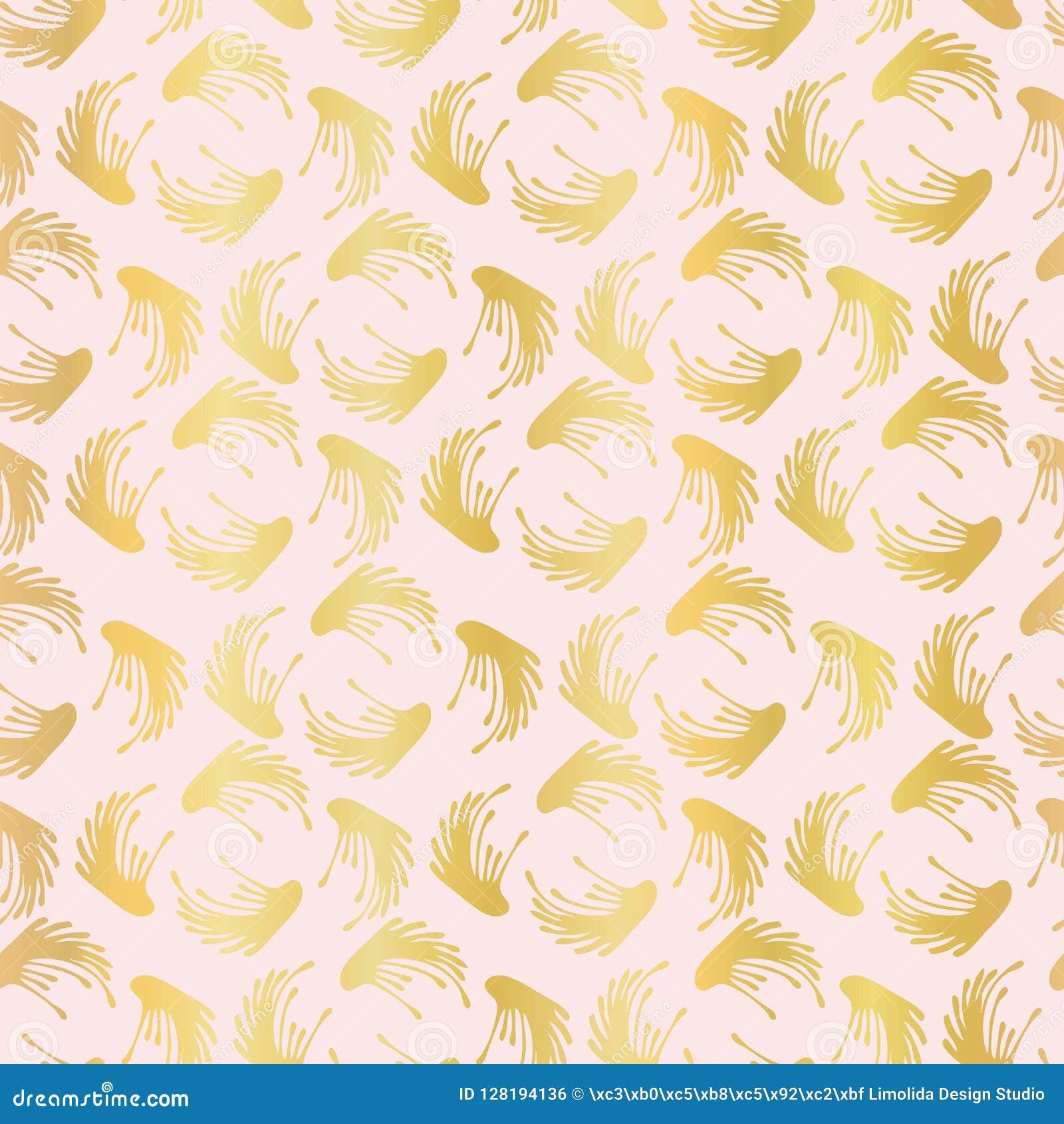 Modelo inconsútil de lujo del vector de Rose Gold Foil Leaf Swirl, damasco dibujado