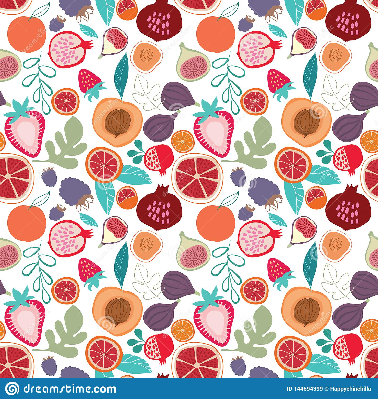Modelo inconsútil de moda sabroso colorido de las frutas tropicales del vector en fondo ligero