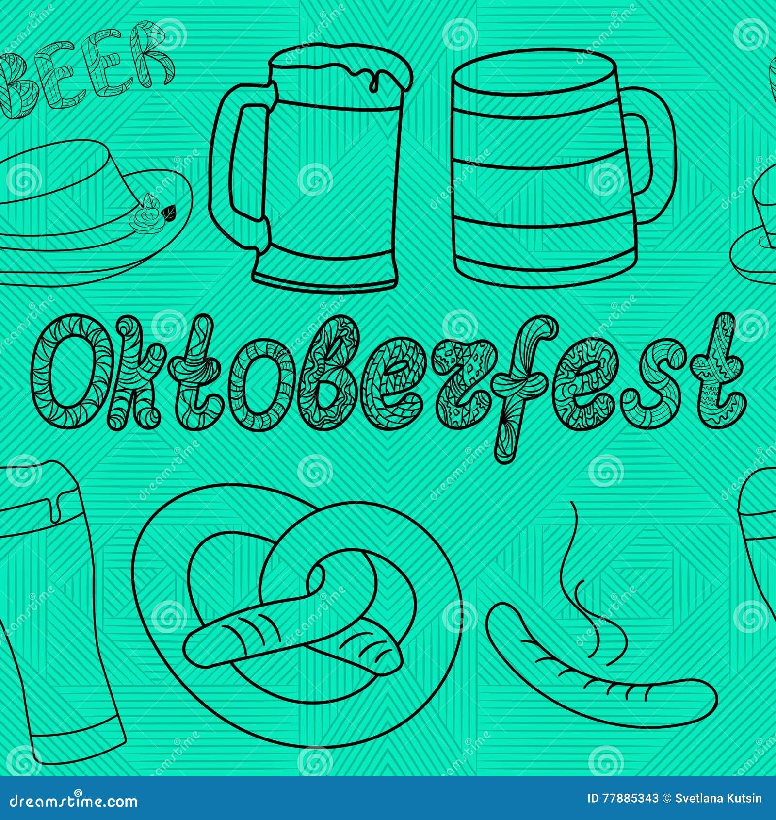 Modelo Inconsútil De Oktoberfest Ilustraciones Drenadas Mano Ilustración del Vector