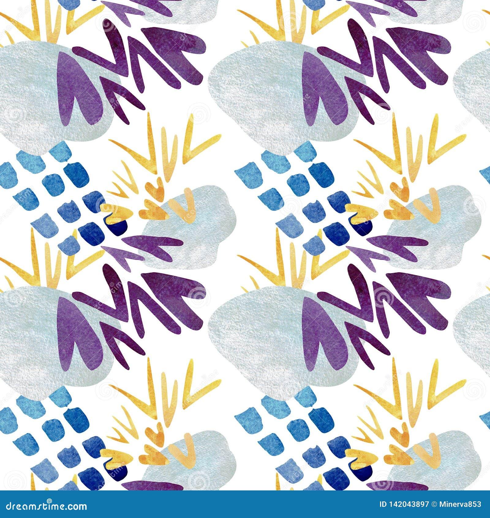Modelo inconsútil de puntos azules abstractos y de marcas de verificación amarillas Ilustración de la acuarela