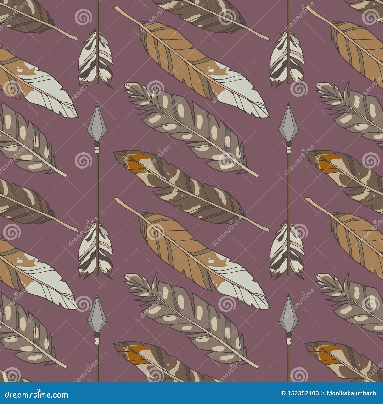 Modelo inconsútil del boho con las plumas y las flechas coloreadas naturales del águila en fondo púrpura