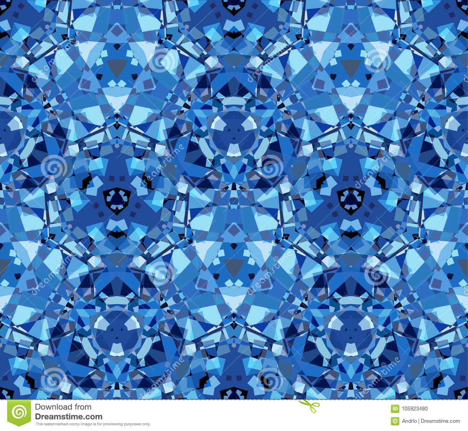 Modelo Inconsútil Del Caleidoscopio Azul Integrado Por Formas Del ...