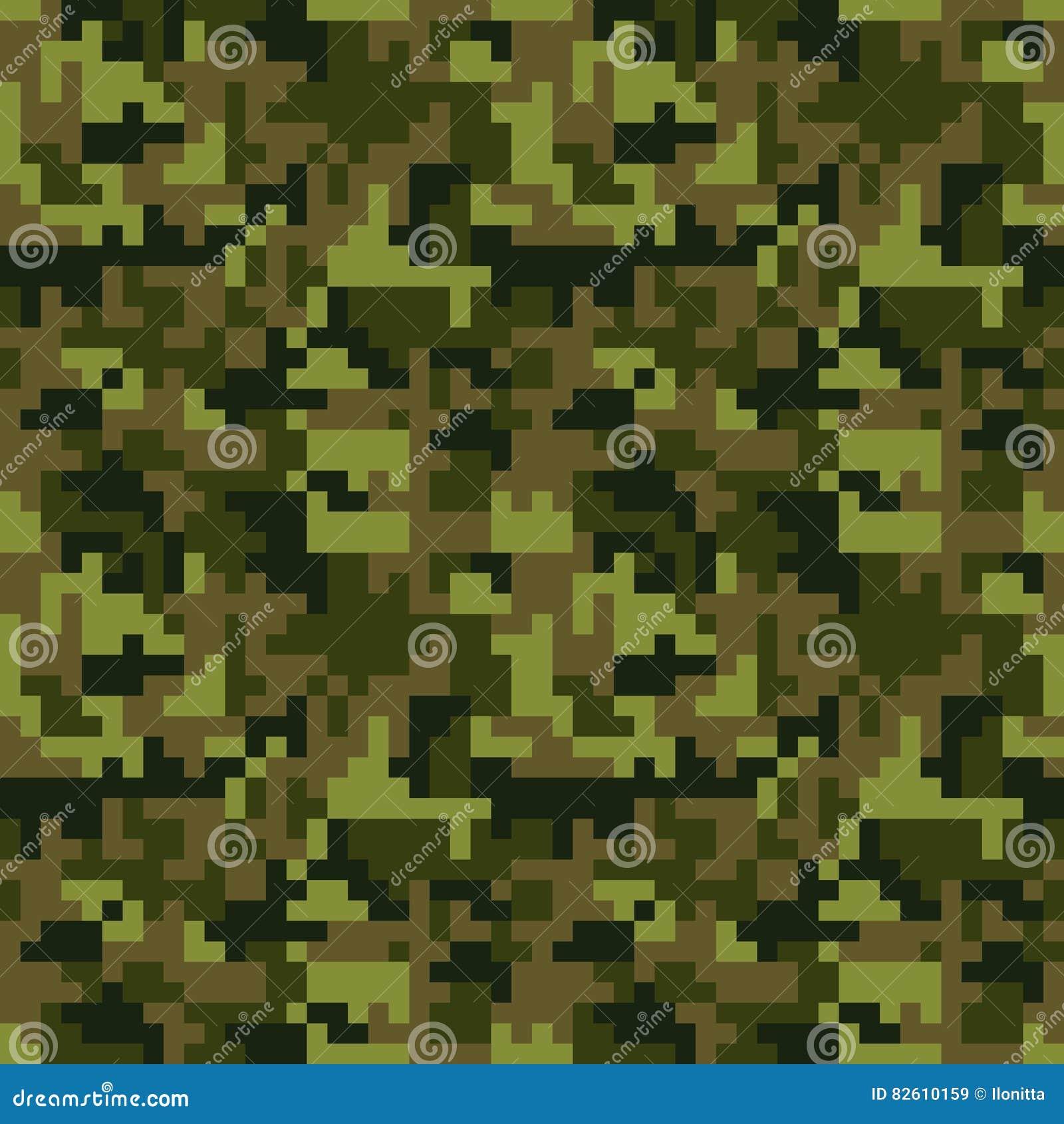 Modelo Inconsútil Del Camo Del Pixel Camuflaje Verde Del Bosque ...