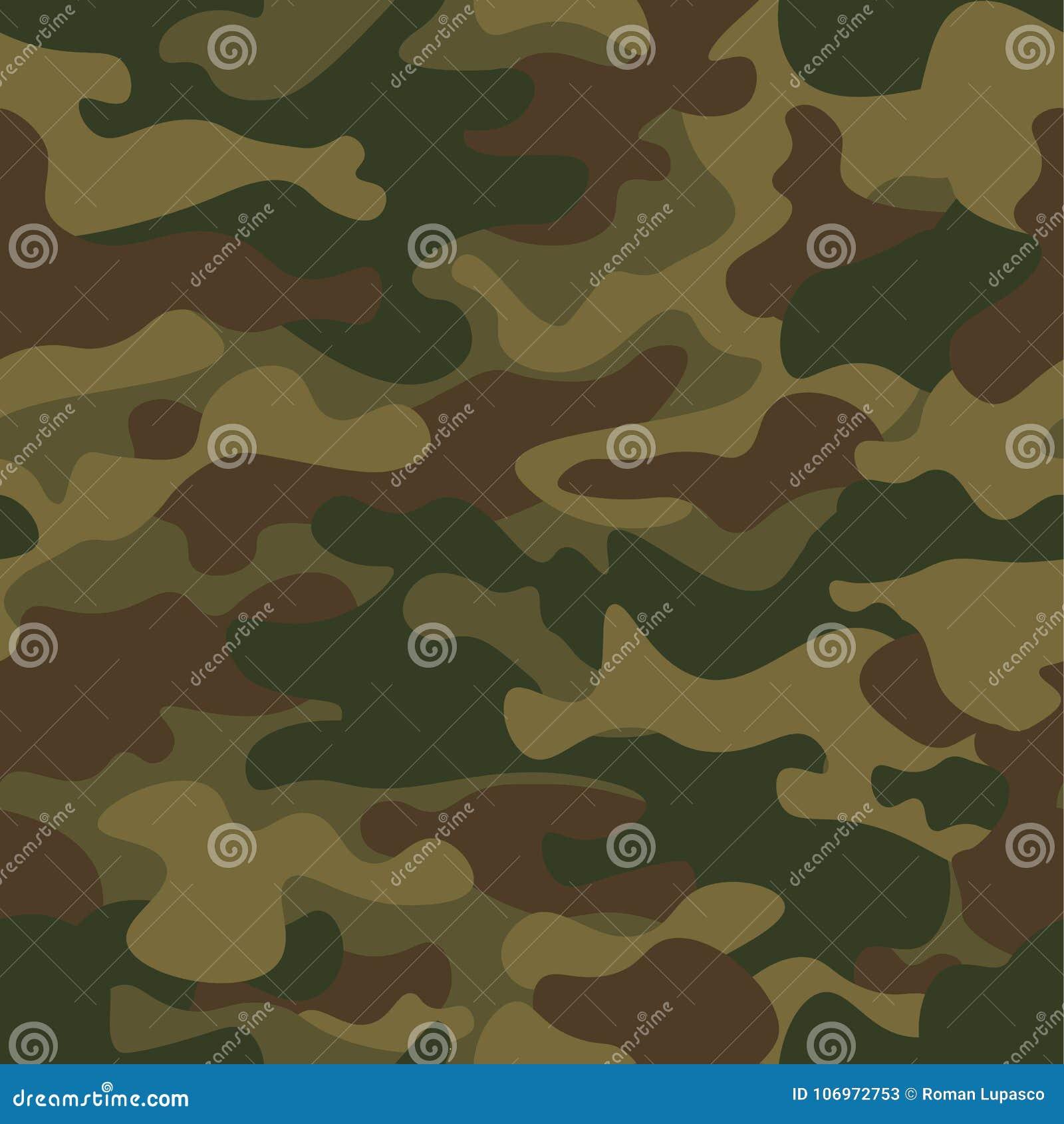 Modelo inconsútil del camuflaje Textura de color caqui, ejemplo del vector Fondo de la impresión de Camo Contexto militar abstrac