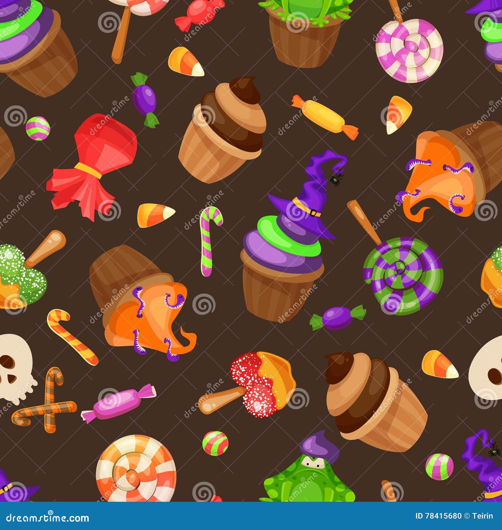 Modelo Inconsútil Del Caramelo De Halloween Textura Con Los Dulces ...