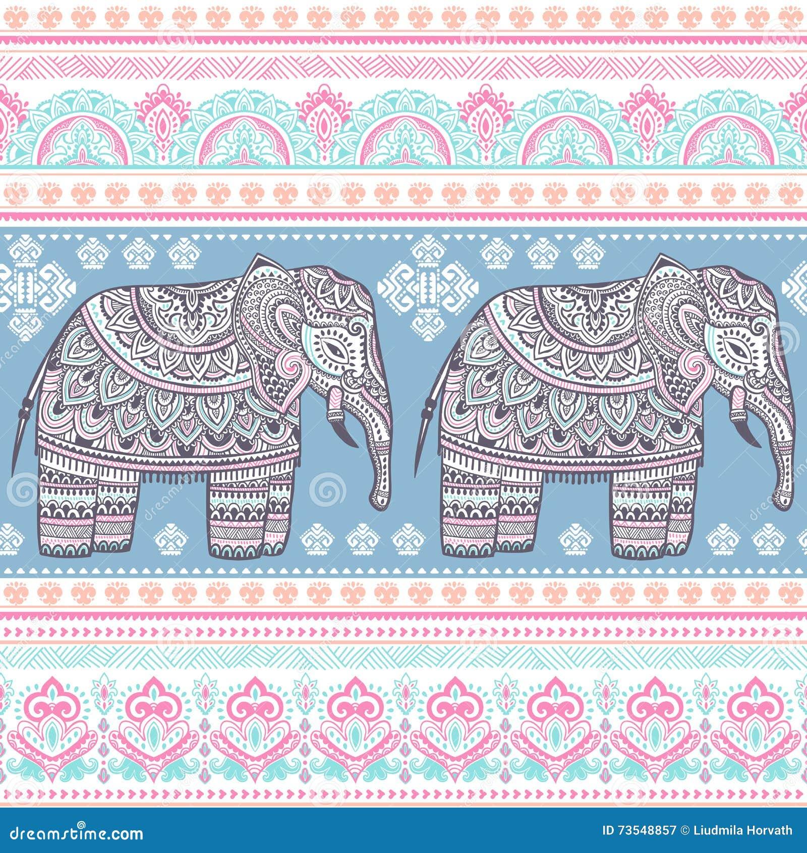 Modelo inconsútil del elefante bohemio indio étnico del estilo