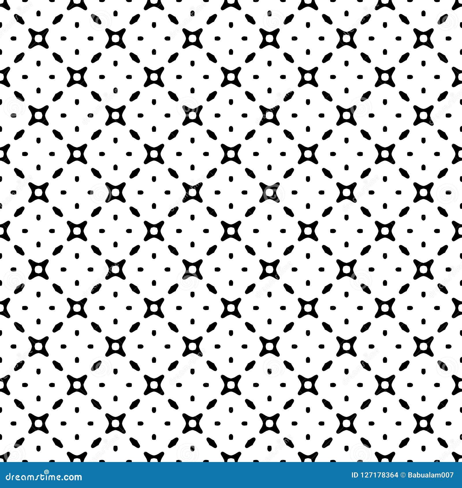 Modelo inconsútil del extracto blanco y negro del vector con la rejilla, formas del diamante, estrellas, Rhombus, enrejado, tejas