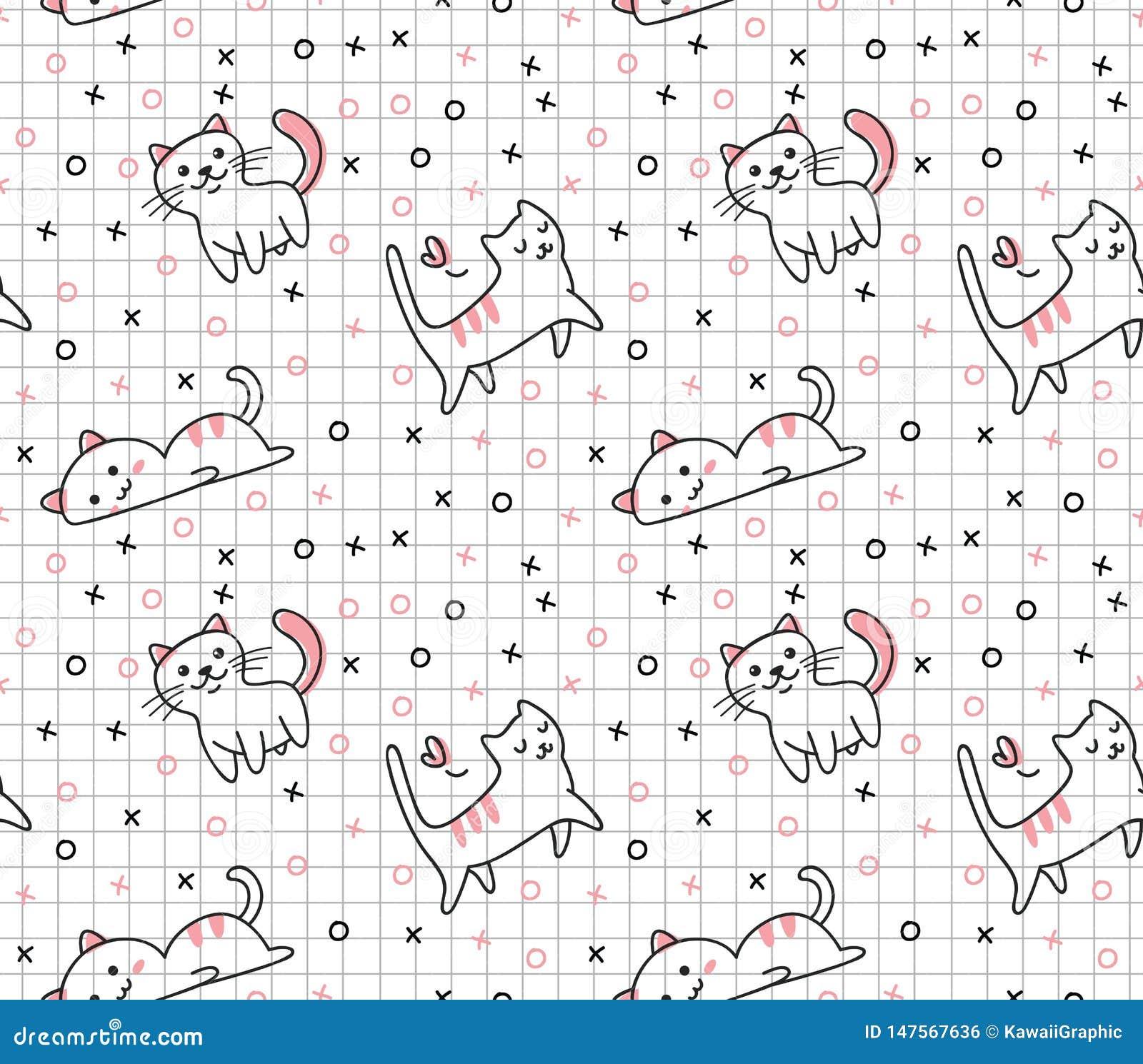 Modelo inconsútil del gato lindo en el ejemplo del vector del estilo del garabato del kawaii