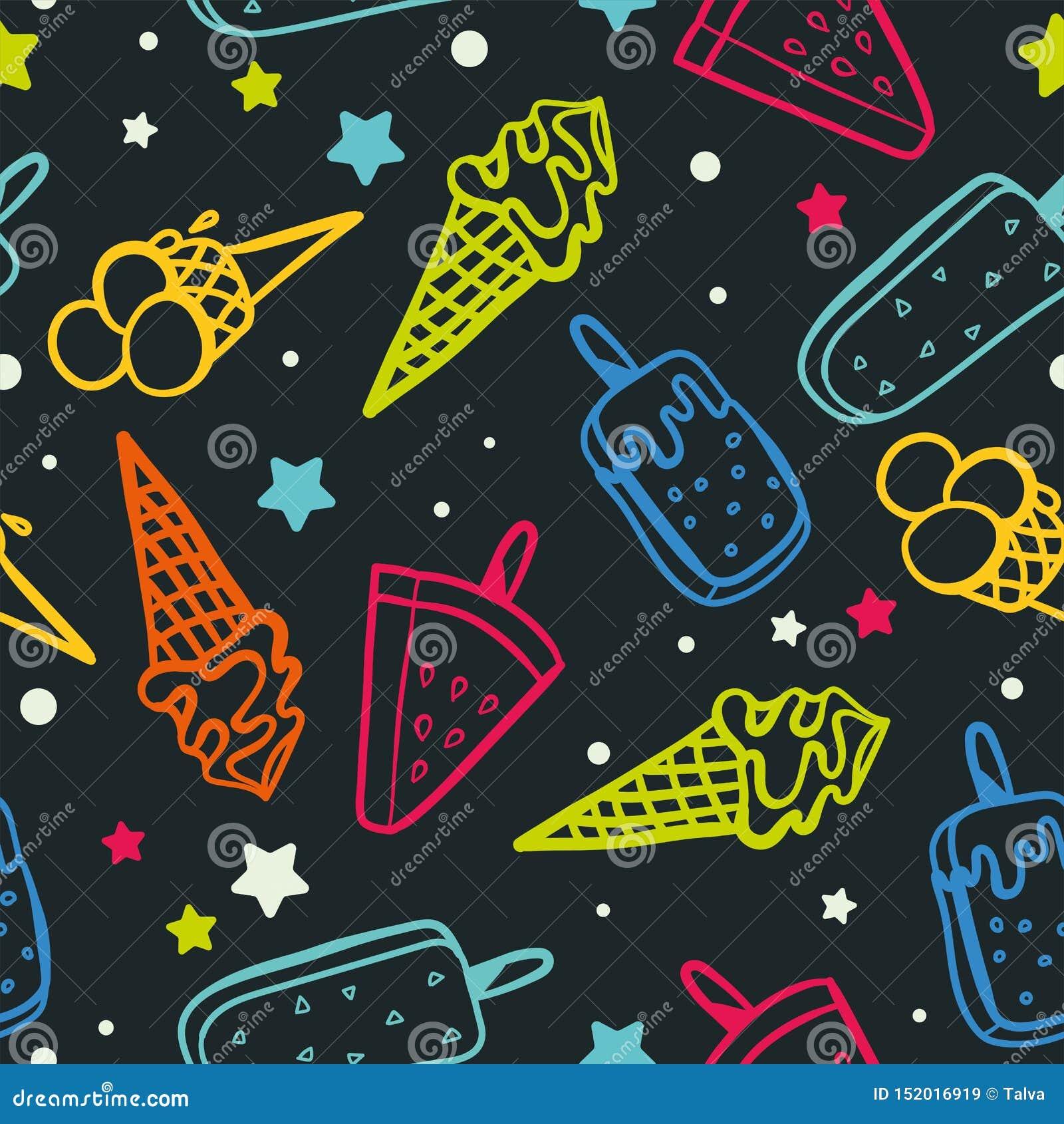 Modelo inconsútil del helado con los colores de neón - textura del fondo, grandes inconsútiles para las telas temáticas del veran