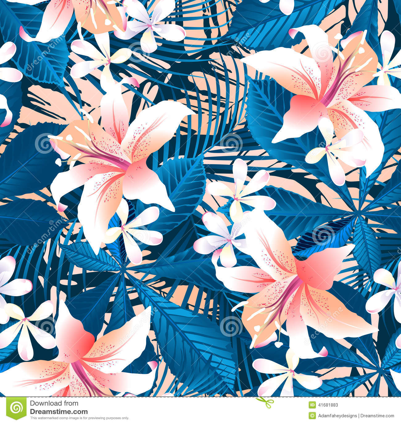 Modelo inconsútil del hibisco 6 florales tropicales