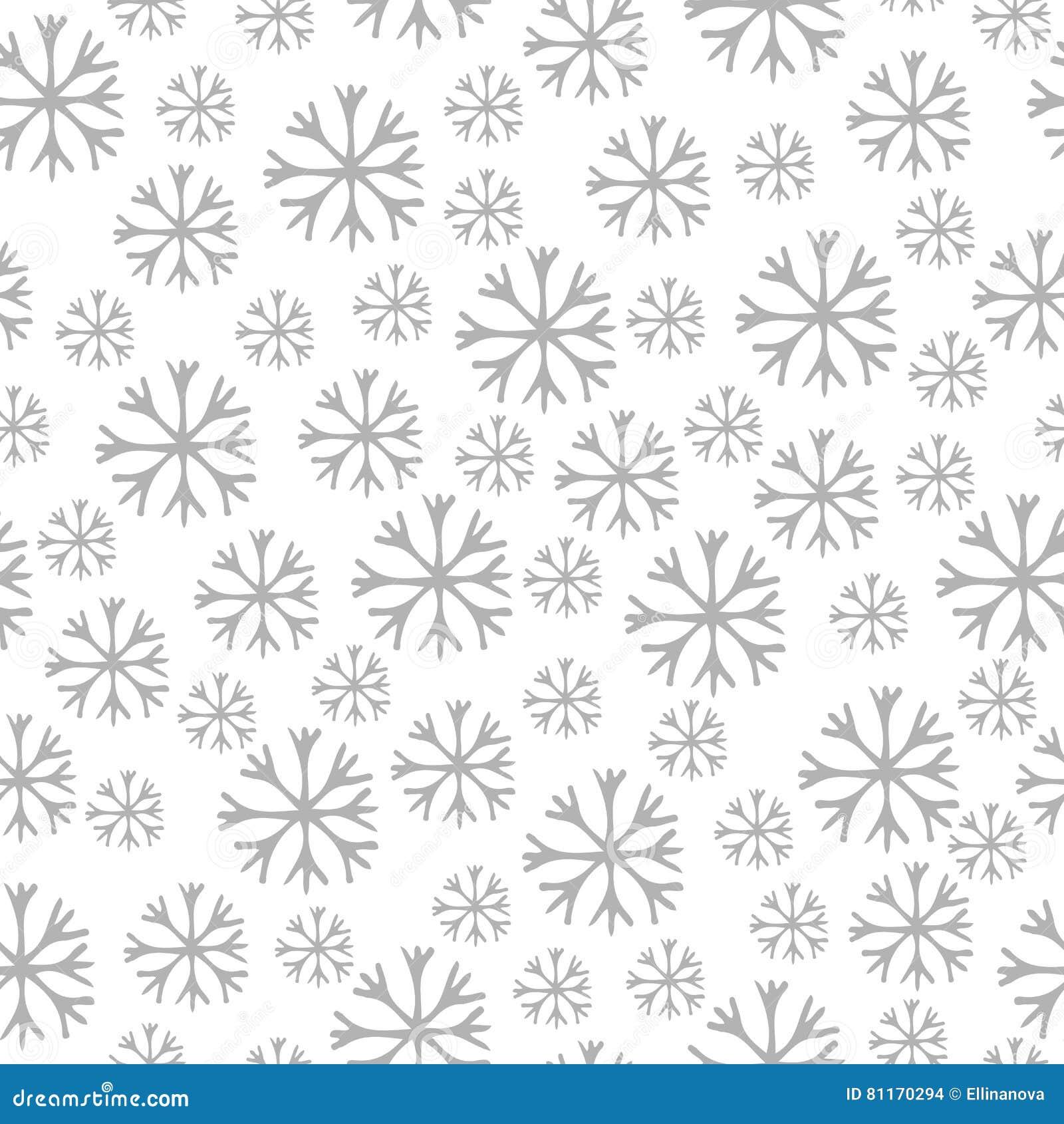 Modelo Inconsútil Del Invierno Con El Copo De Nieve Gris En Blanco
