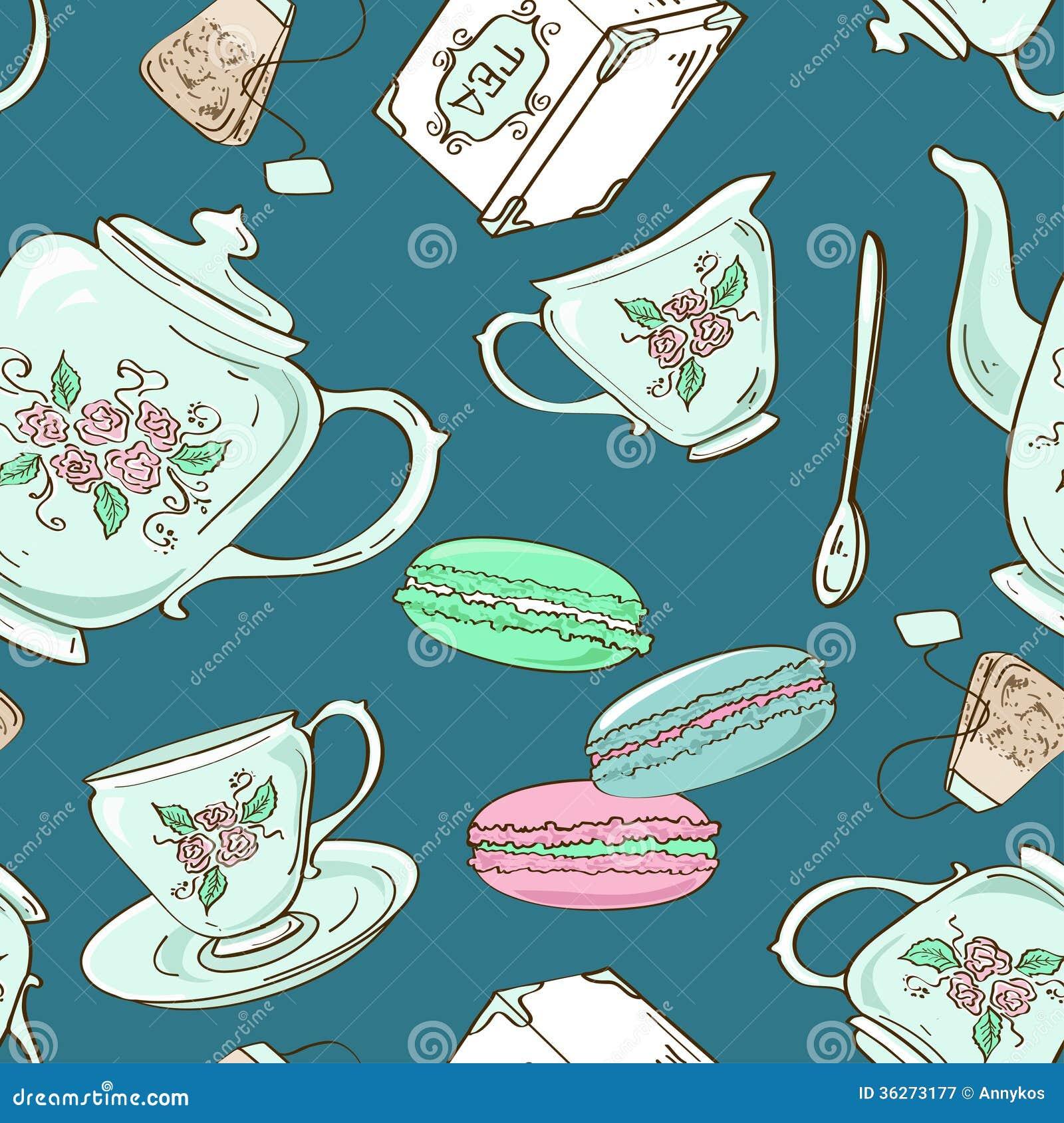 Modelo inconsútil del juego de té y de macarrones franceses