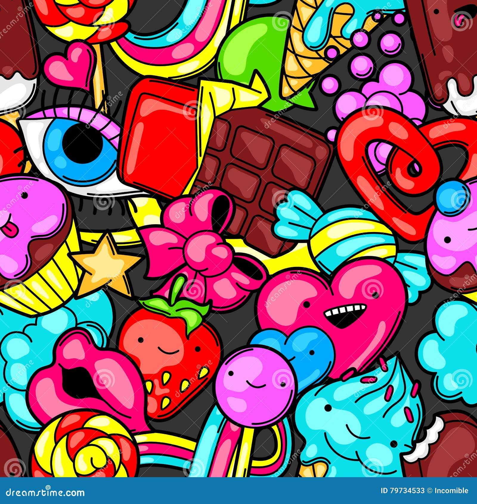Modelo inconsútil del kawaii con los dulces y los caramelos Dulce-materia loca en estilo de la historieta