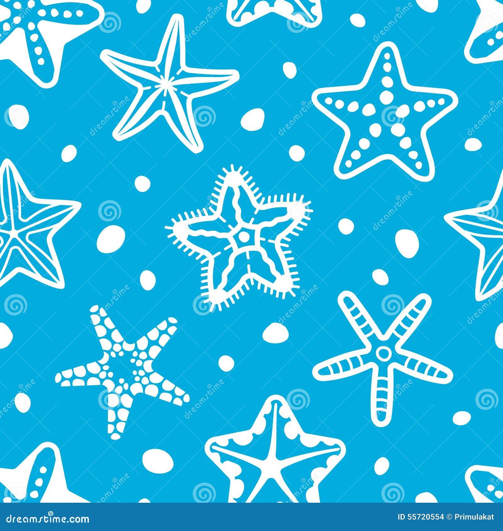 Modelo inconsútil del mar del vector con las estrellas de mar
