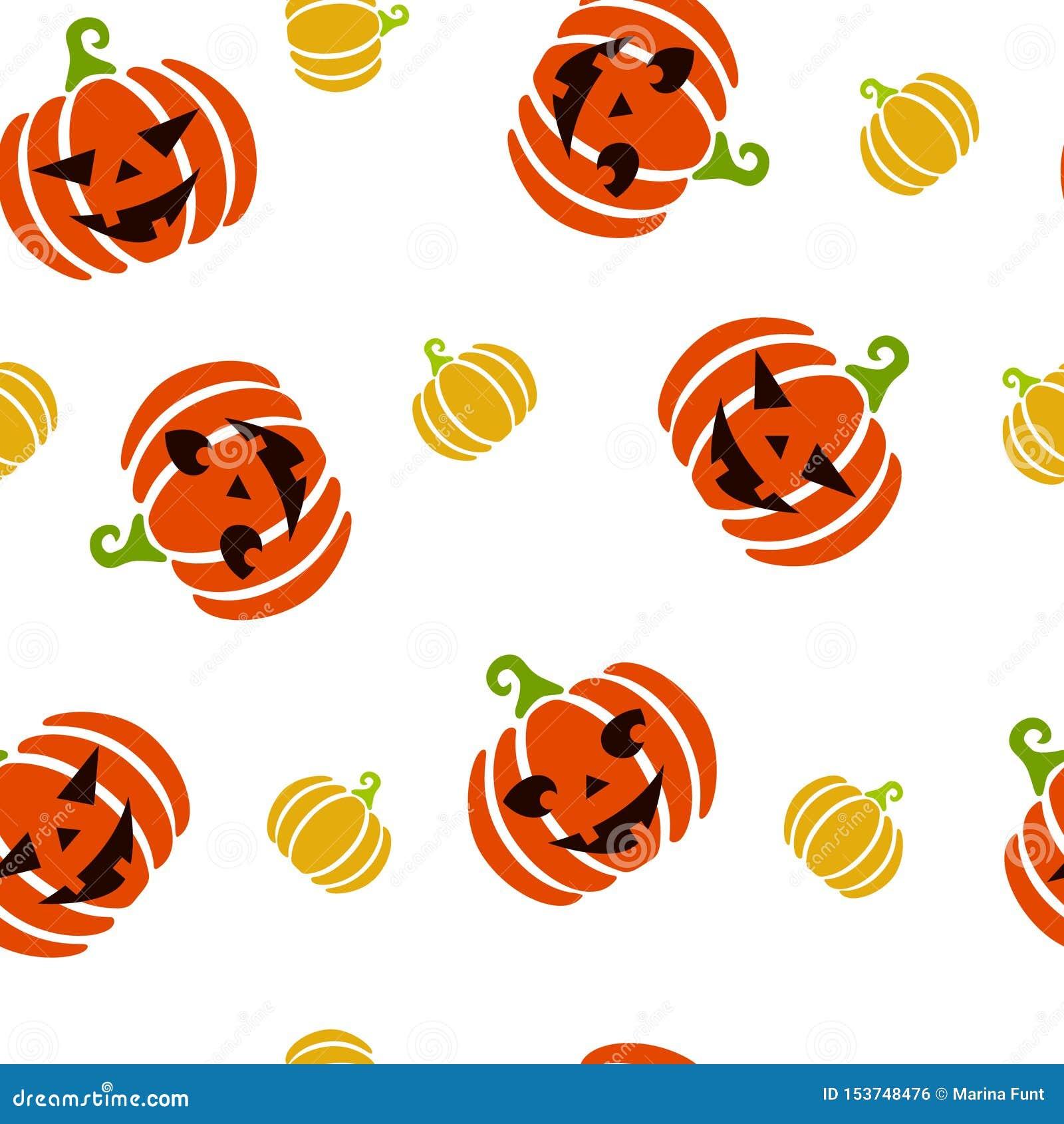 Modelo inconsútil del otoño de calabazas grandes y pequeñas anaranjadas y amarillas con las caras asustadizas y lindas talladas C