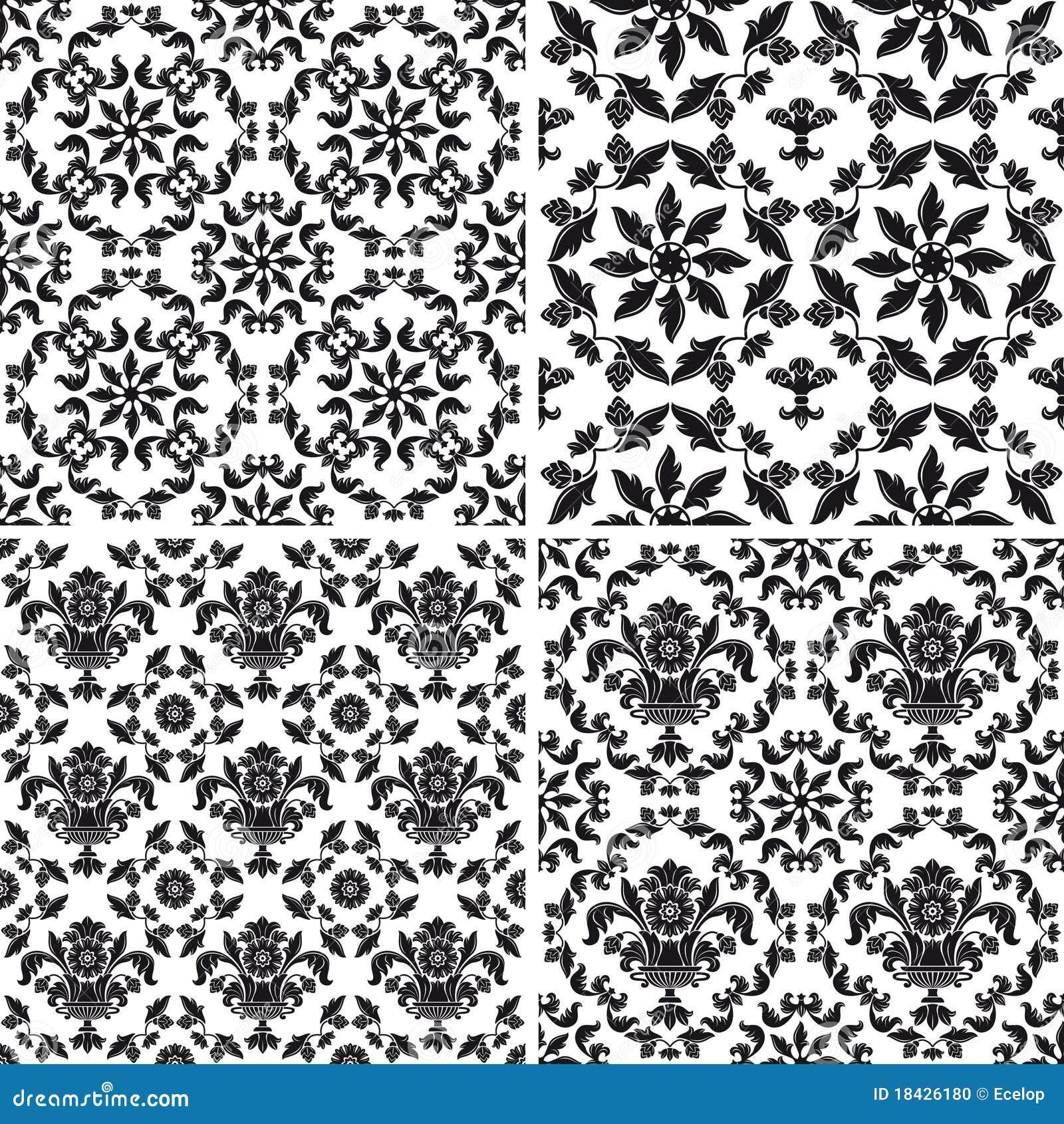 Modelo incons til del papel pintado floral blanco y negro for Papel pintado blanco y negro