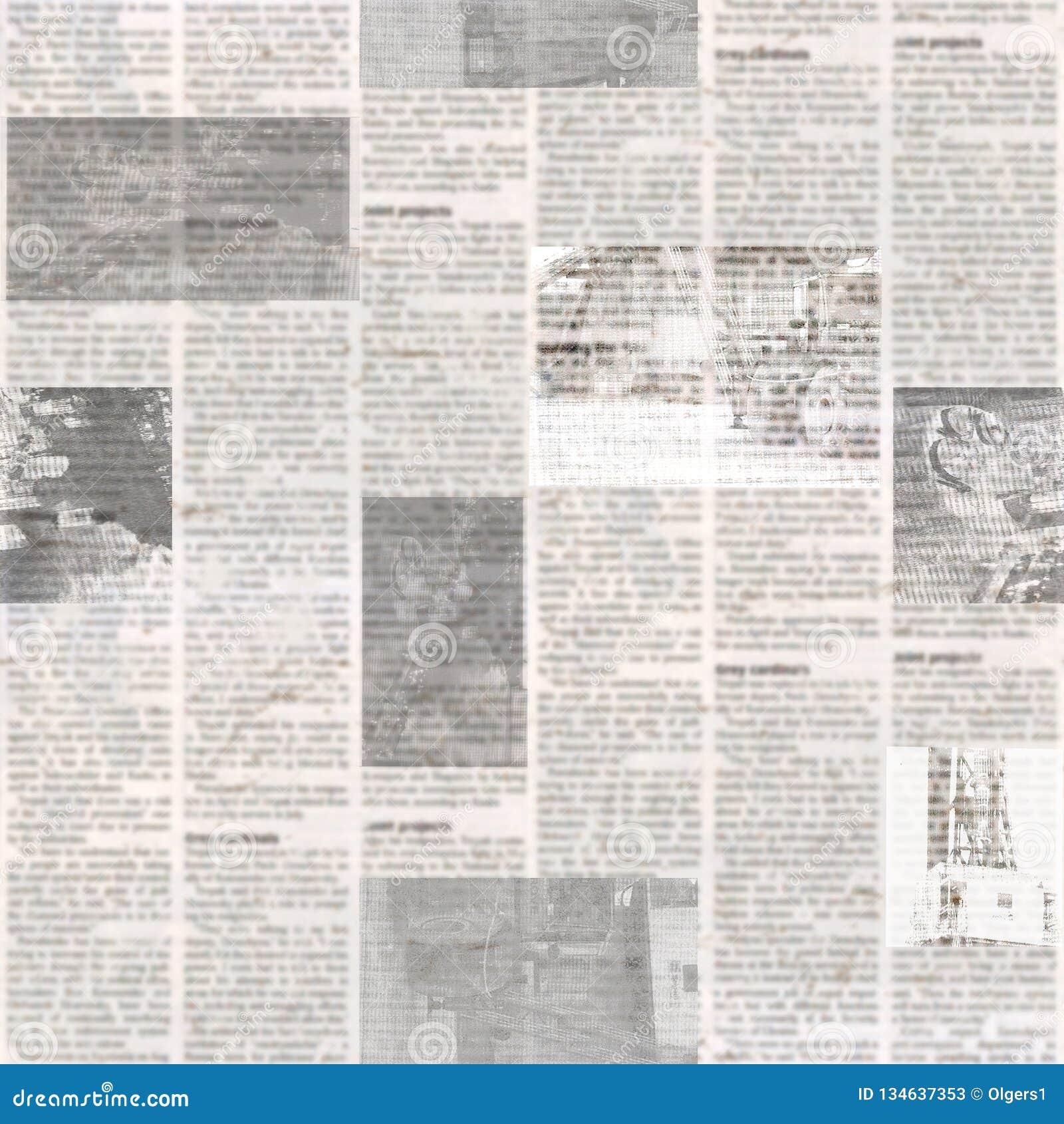 Modelo inconsútil del periódico con el fondo de papel ilegible de la textura del viejo vintage