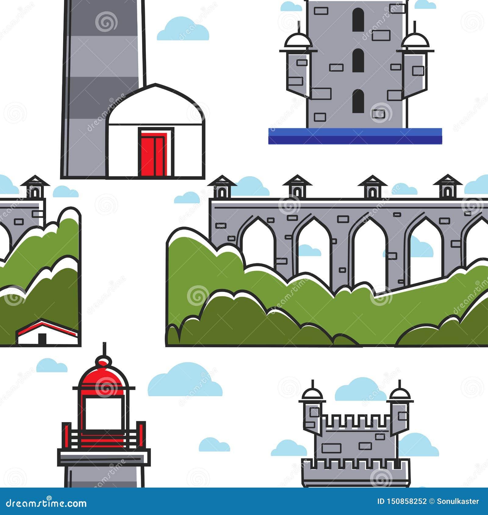 Modelo inconsútil del puente de Portugal y del faro de la torre del ladrillo