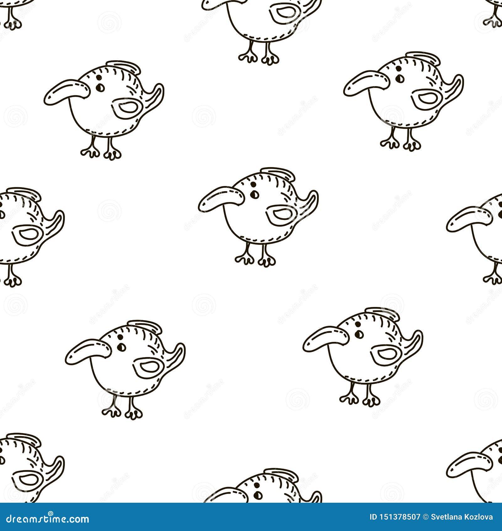 Modelo inconsútil del vector del bebé Muchos pocos pájaros en el fondo blanco