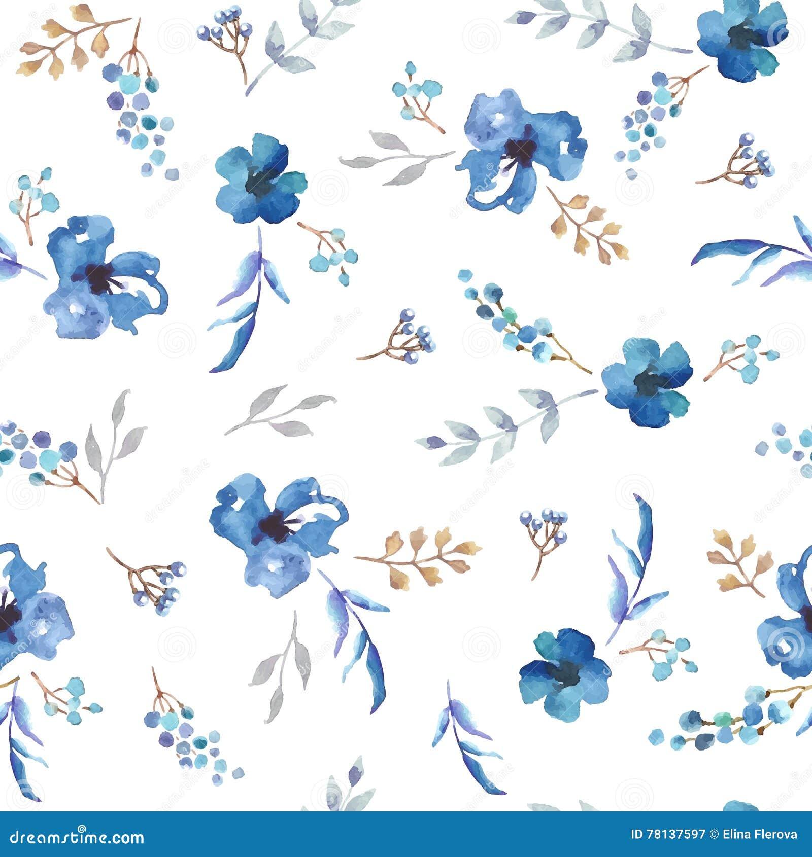 Modelo Inconsutil Del Vector Con Las Flores Azules De La Acuarela