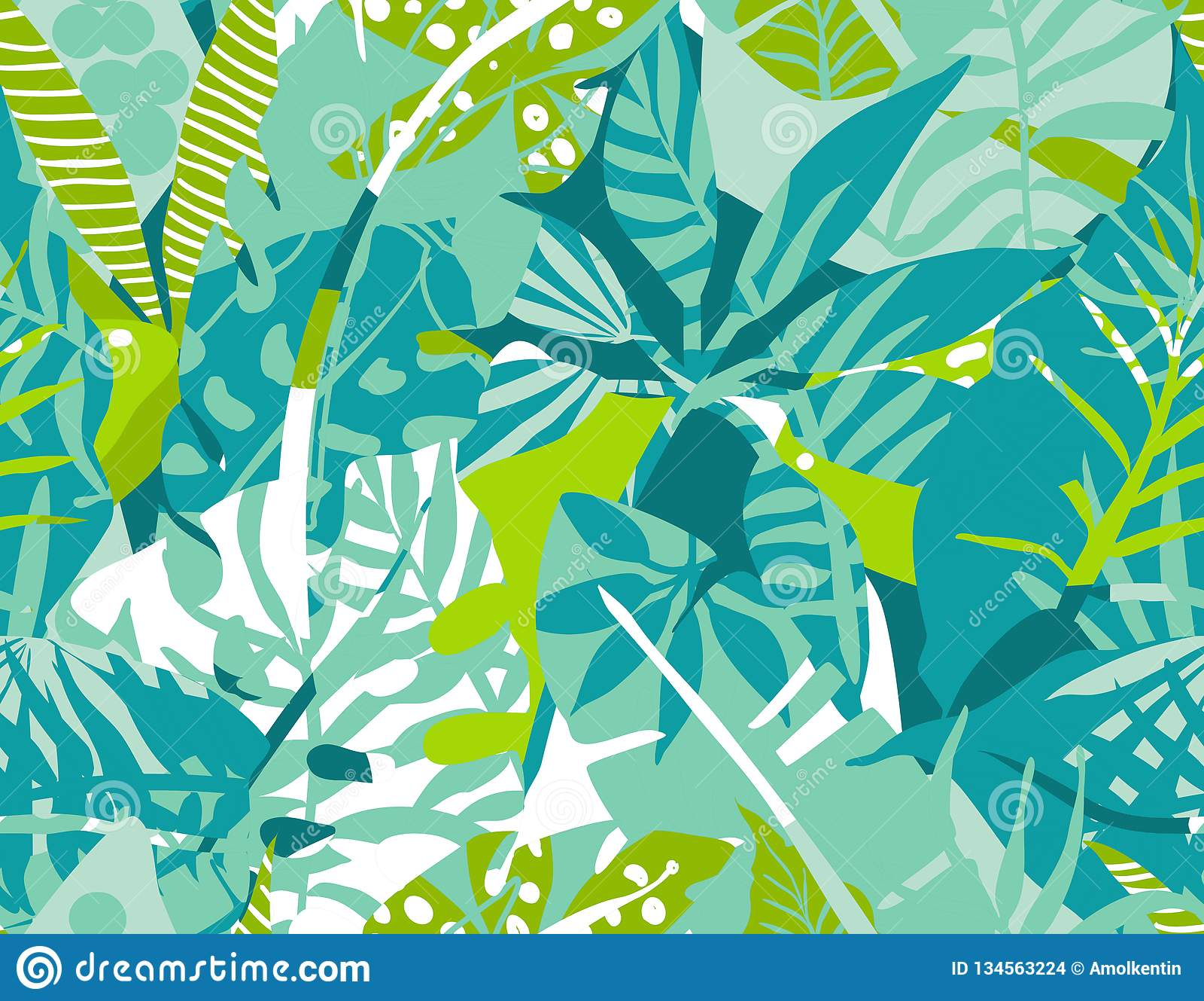 Modelo inconsútil del vector con las plantas tropicales y dar texturas abstractas exhaustas