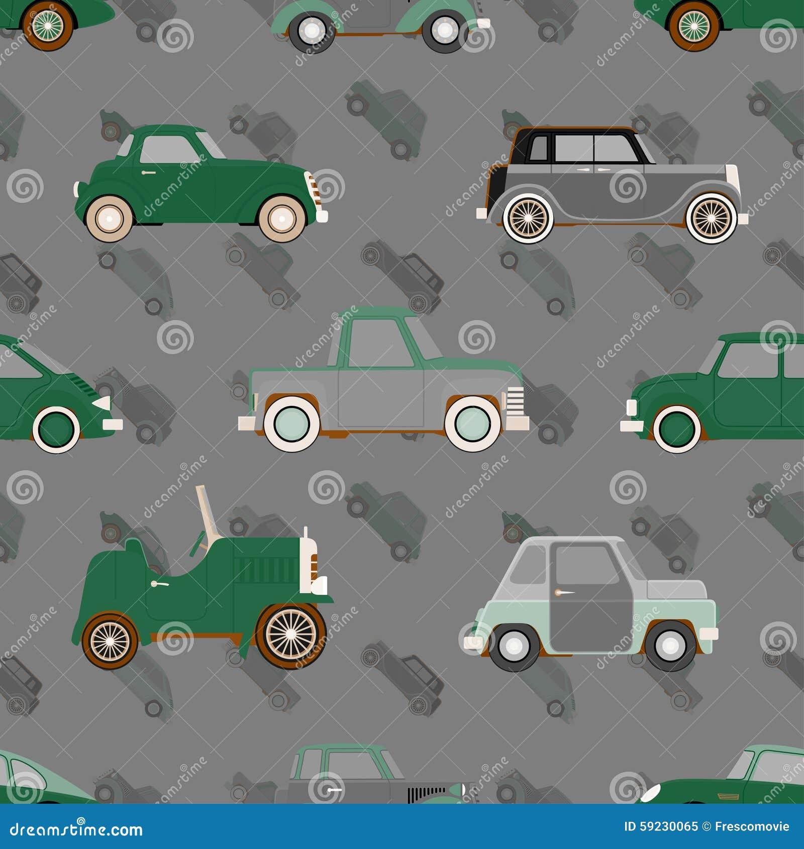 Download Modelo Inconsútil Del Vector Con Los Coches Ilustración del Vector - Ilustración de retro, arte: 59230065