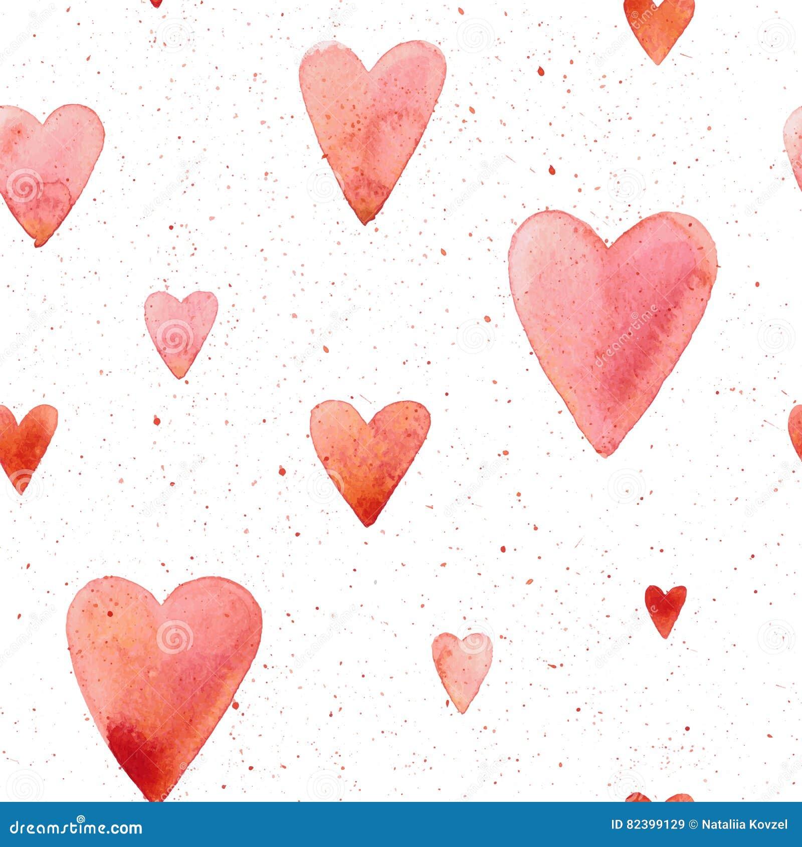 Modelo inconsútil del vector con los corazones pintados a mano de la acuarela