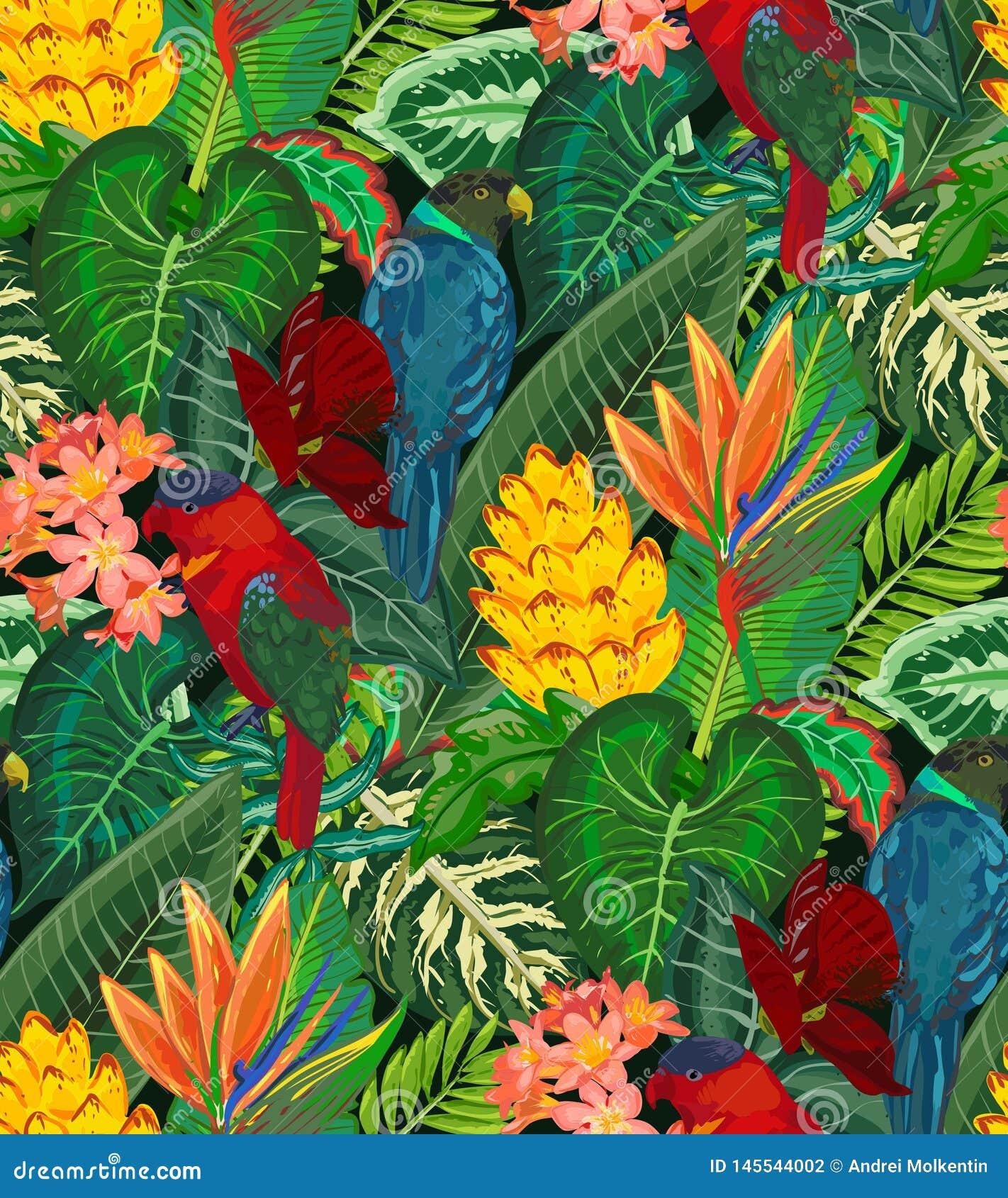Modelo incons?til del vector con los loros tropicales con las flores y las hojas de palma ex?ticas