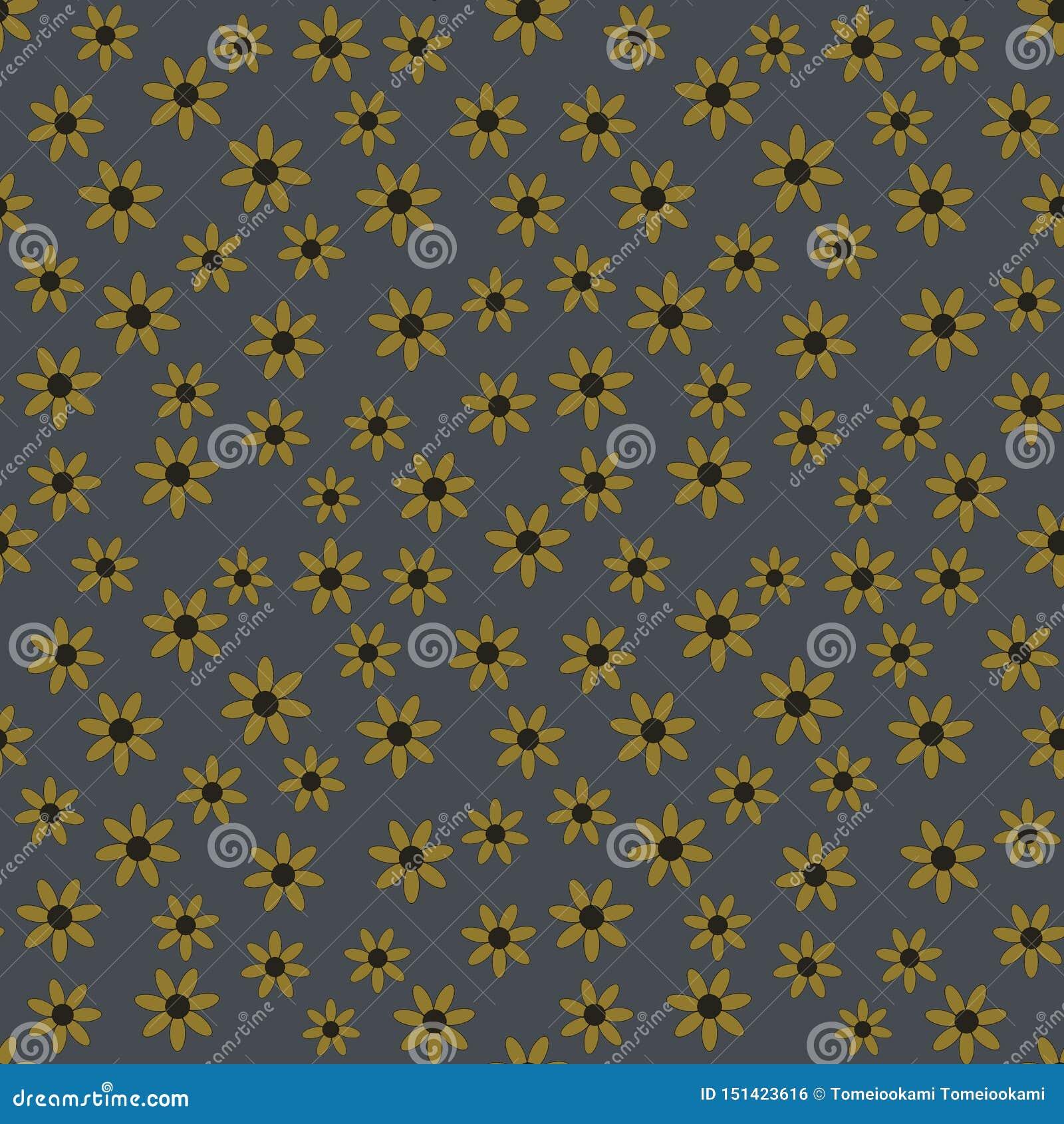 Modelo inconsútil del vector de flores amarillas en un fondo del dril de algodón