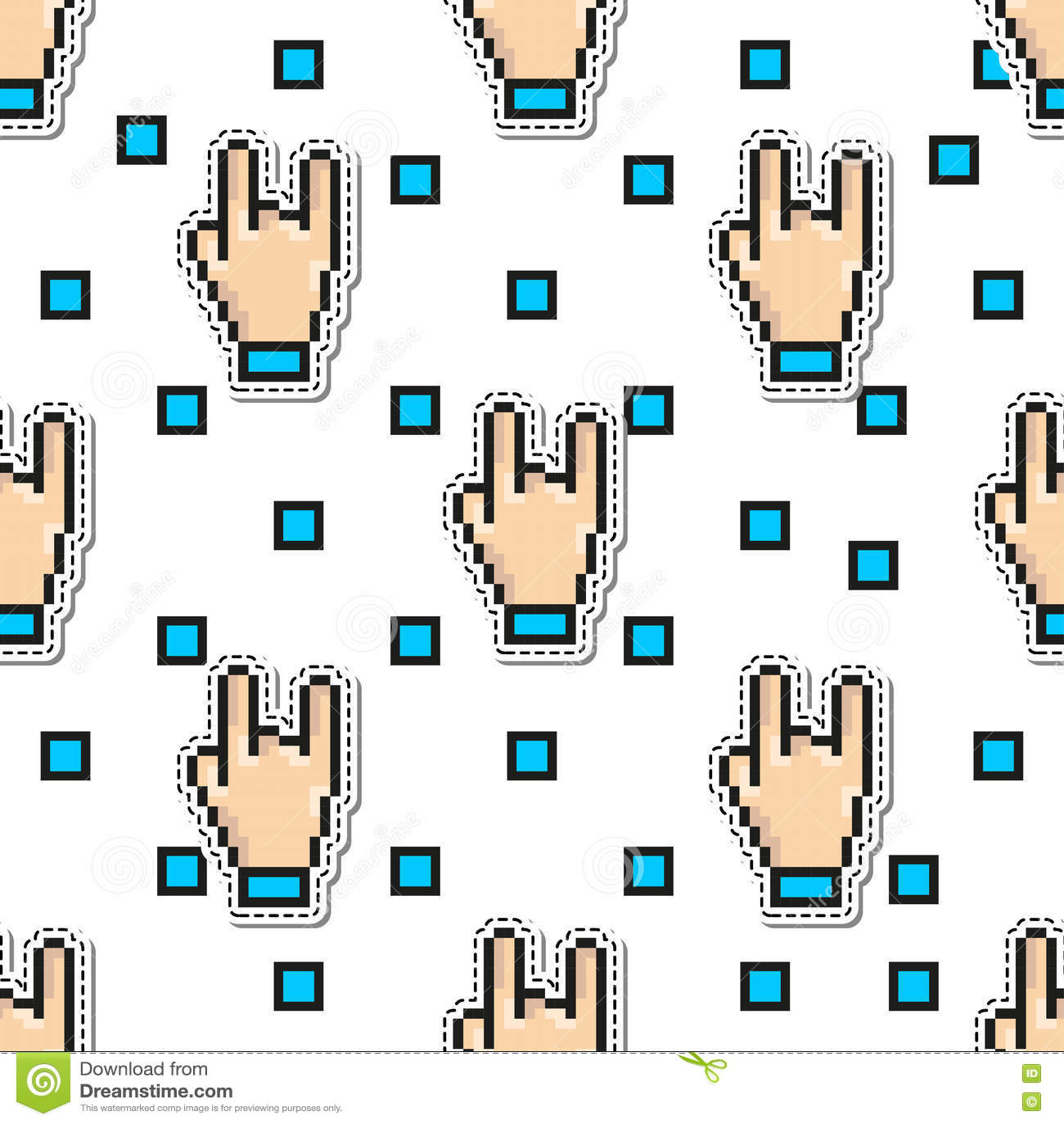 Modelo inconsútil del vector de la roca de la mano de los pulgares gesticula estilo del arte del pixel Fondo del concepto de dise