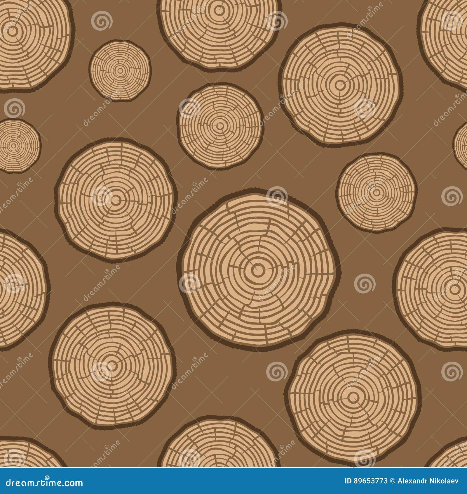 Modelo inconsútil del vector de los anillos de árbol Fondo del tronco de árbol del corte de la sierra Ilustración del vector