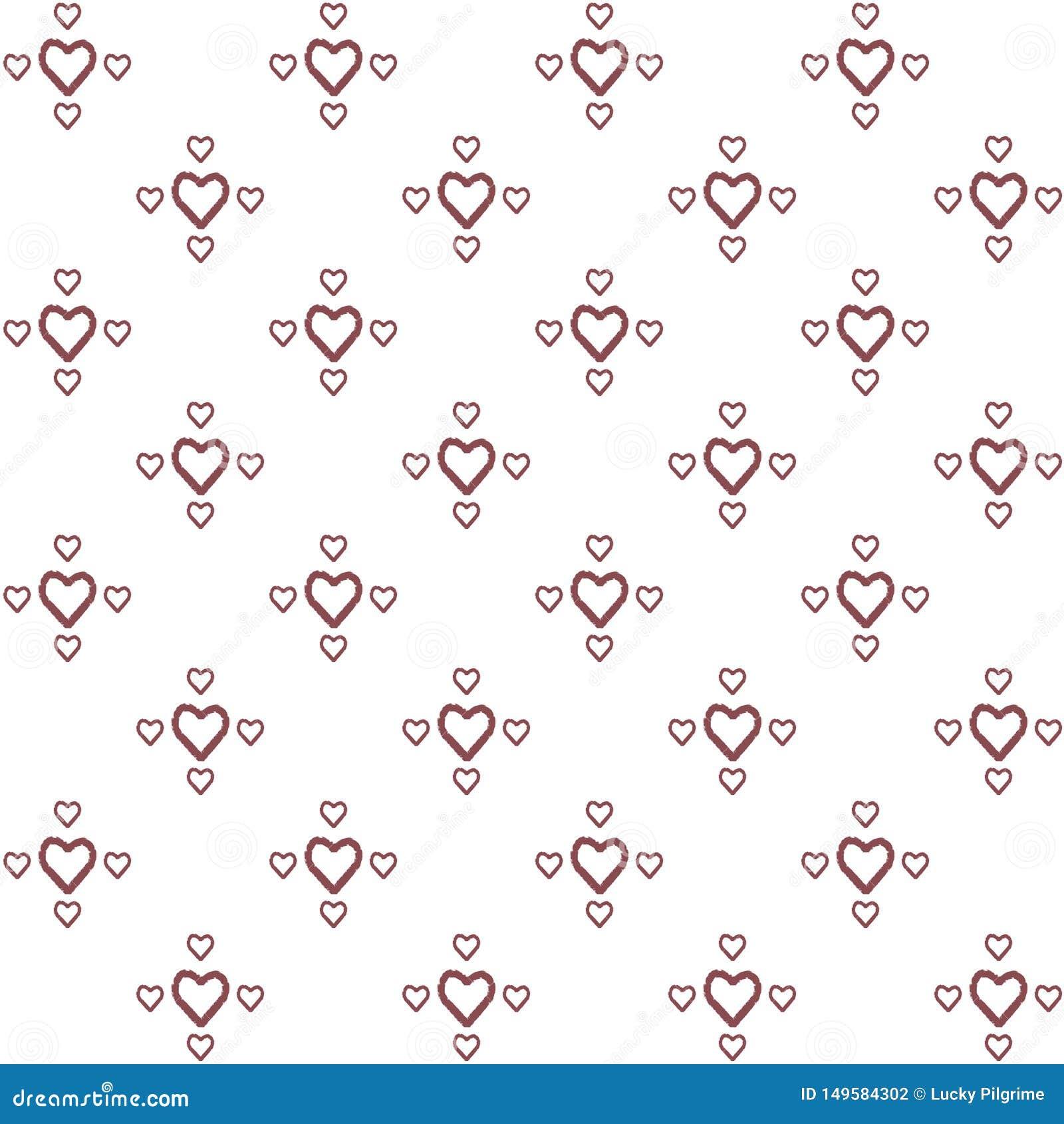 Modelo incons?til del vector de los corazones de dibujo de la mano decorativa en estilo minimalista