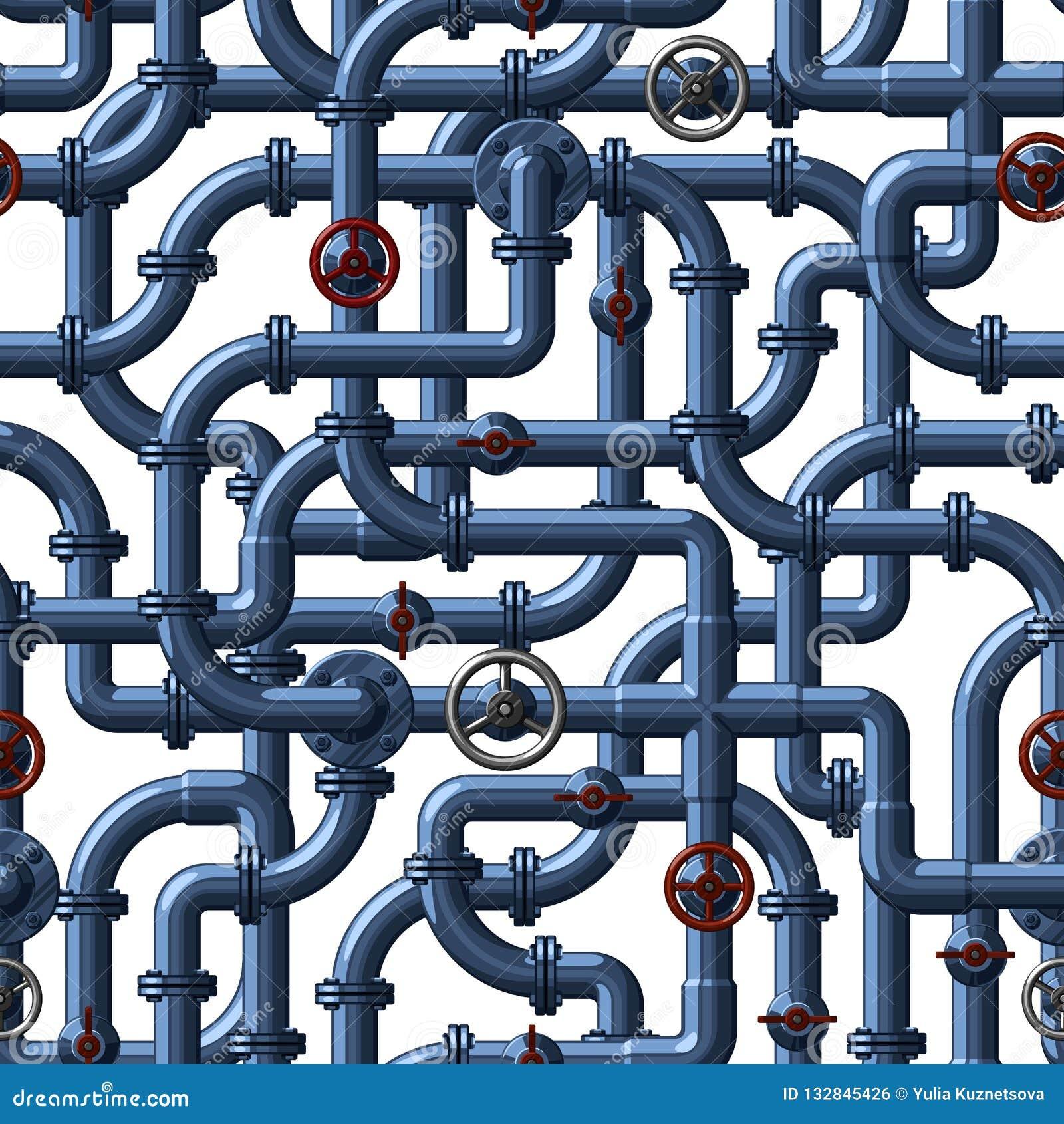 Modelo inconsútil del vector de los tubos de agua que entrelazan de una sombra azul con las válvulas y los golpecitos rojos y gri