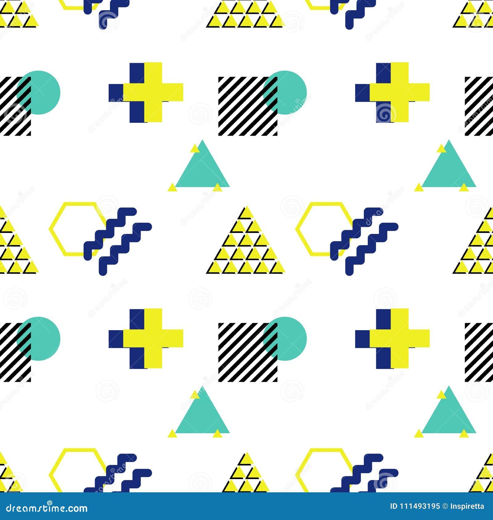 Modelo inconsútil del vector en el estilo 90s Formas geométricas del triang